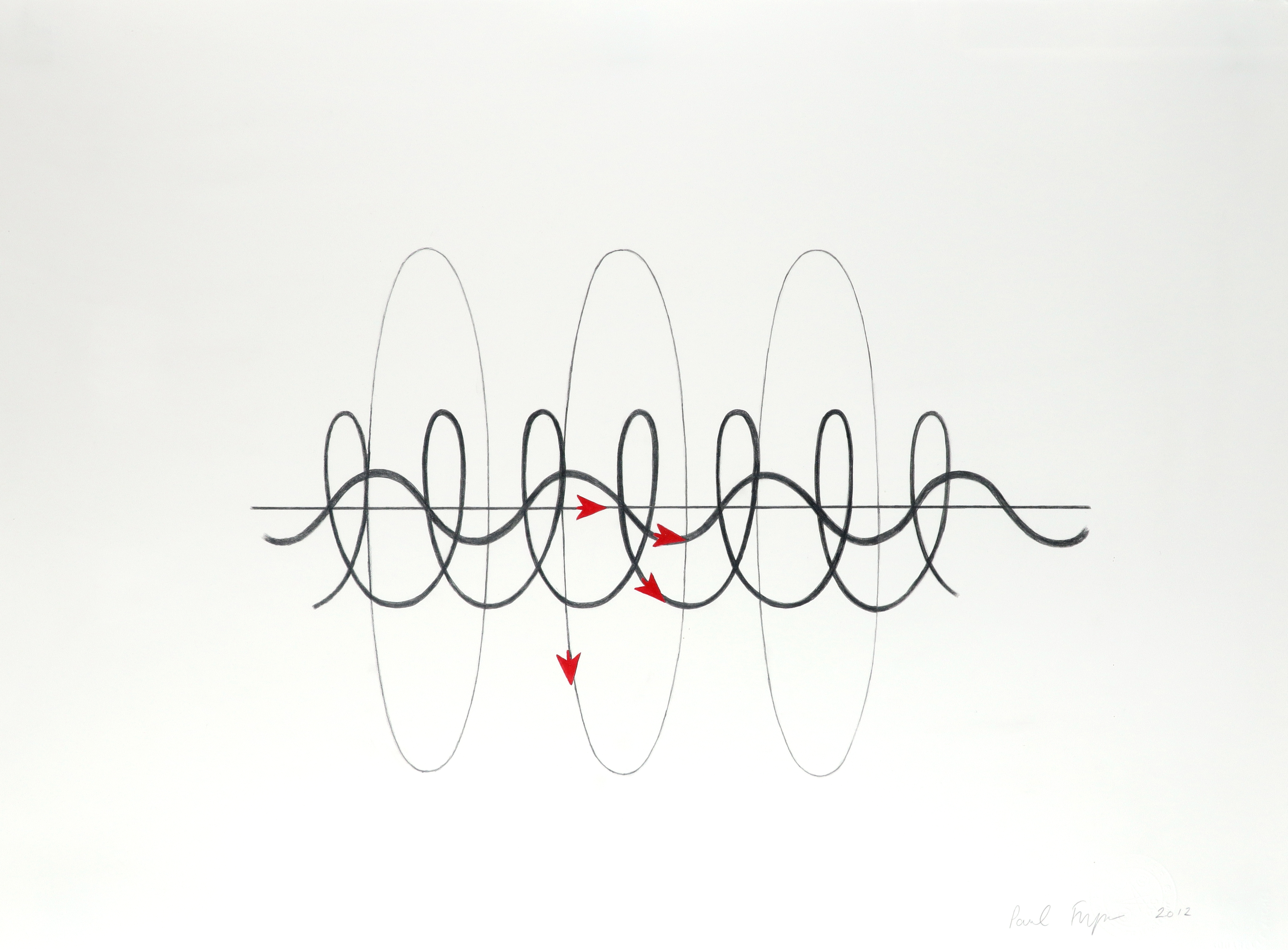 ‡Paul Fryer (b. 1963) Sign Wave Signed Paul Fryer 2012 (lower right) Pencil heightened with red 57 x