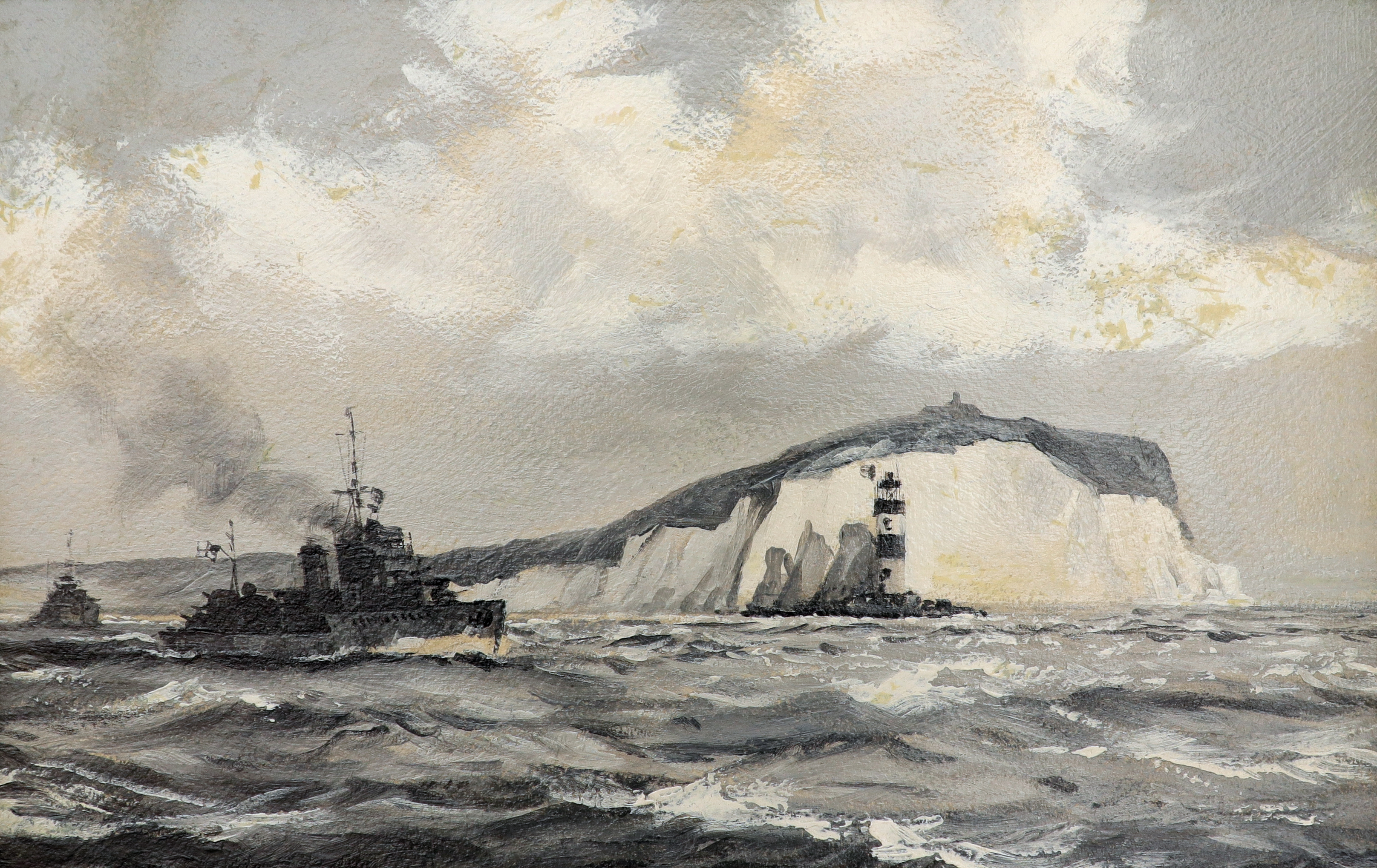 ‡Montague Dawson RMSA, FRSA (1890-1973) A British Destroyer passing the Needles, Isle of Wight Oil
