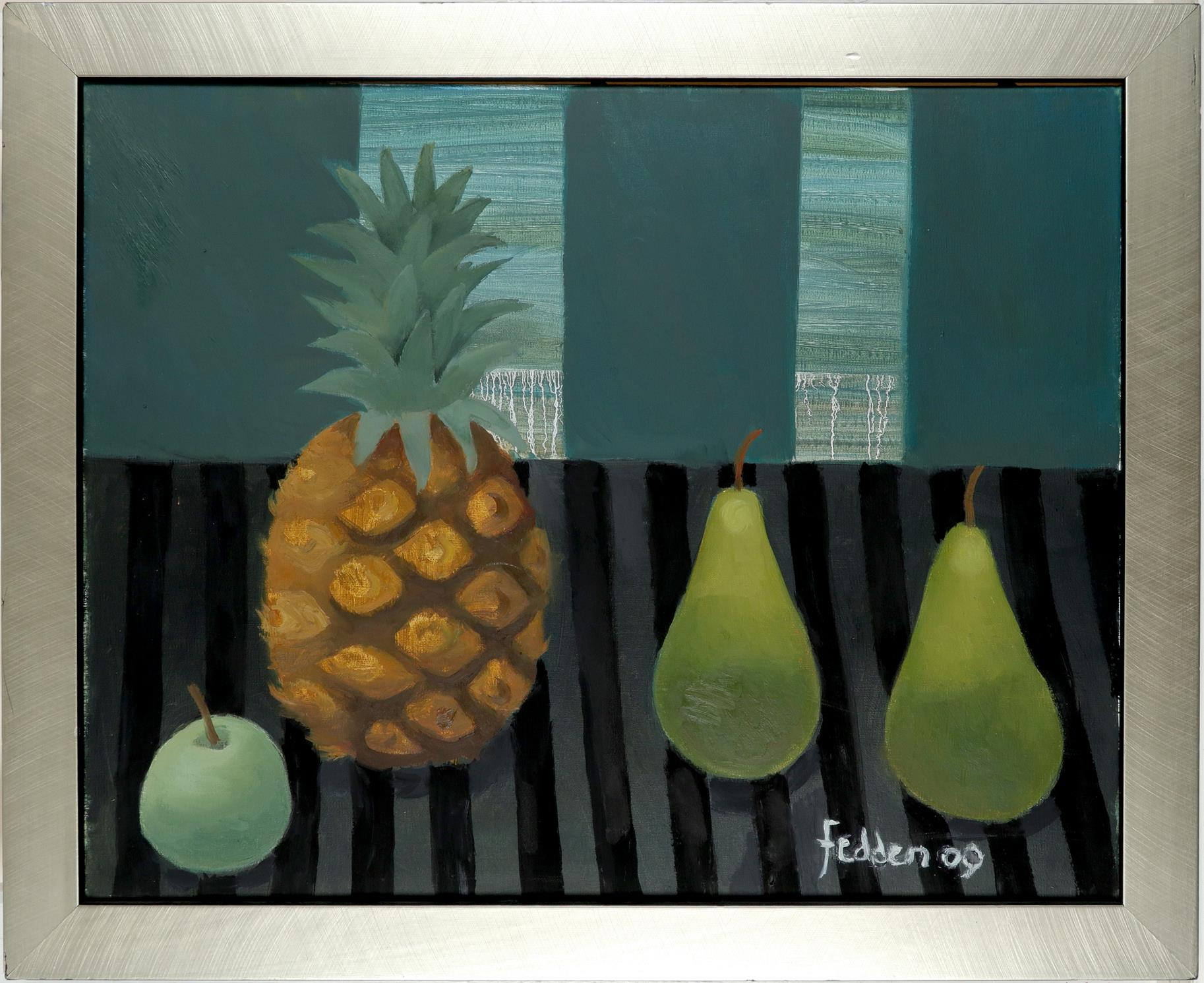 ‡Mary Fedden OBE, RA, RWA, (1915-2012) Still life with a pineapple, two pears and an apple Signed - Image 2 of 3