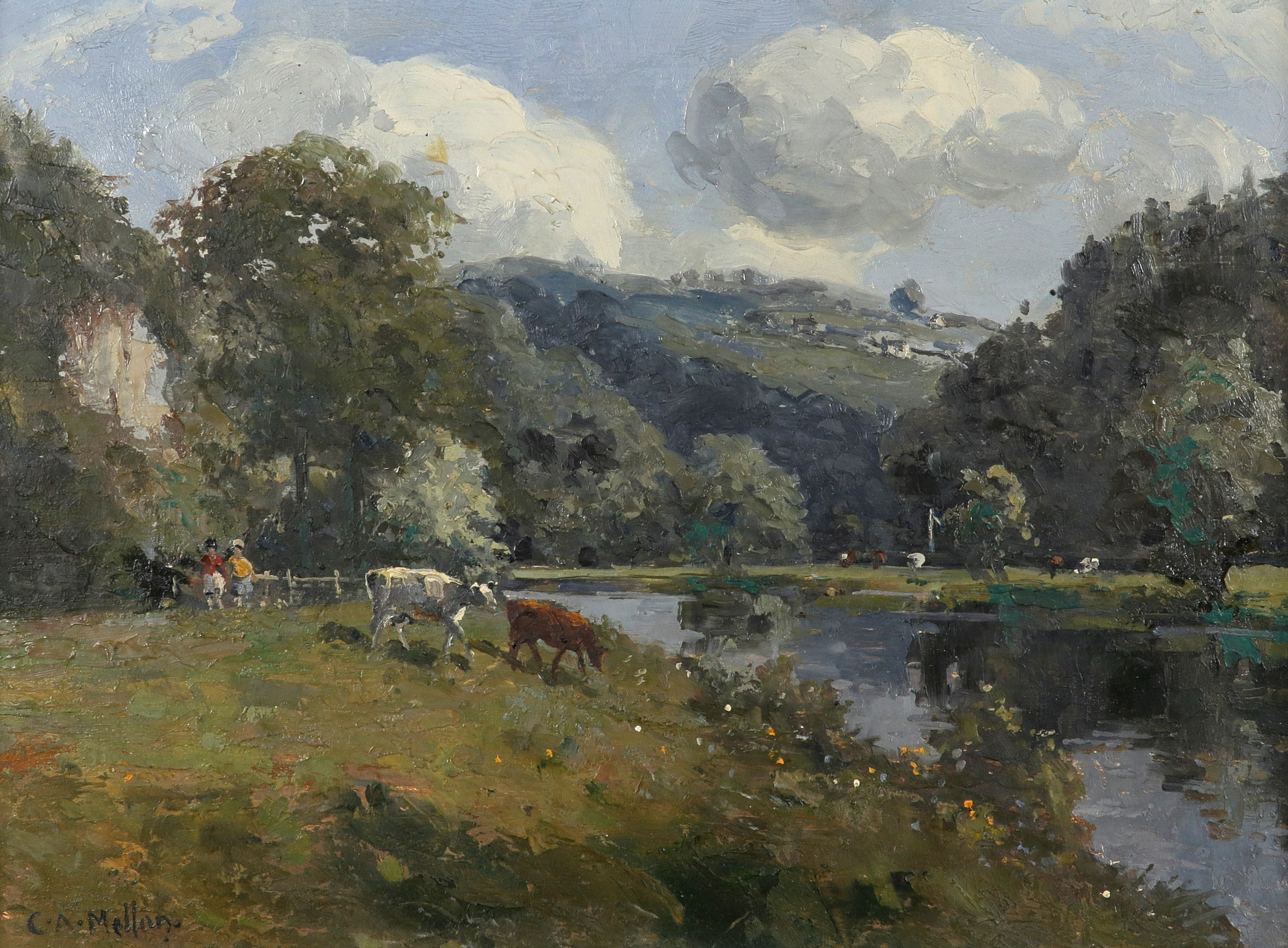 ‡Campbell Archibald Mellon (1876-1955) The River Wye Signed C.A.Mellon. (lower left) Oil on board