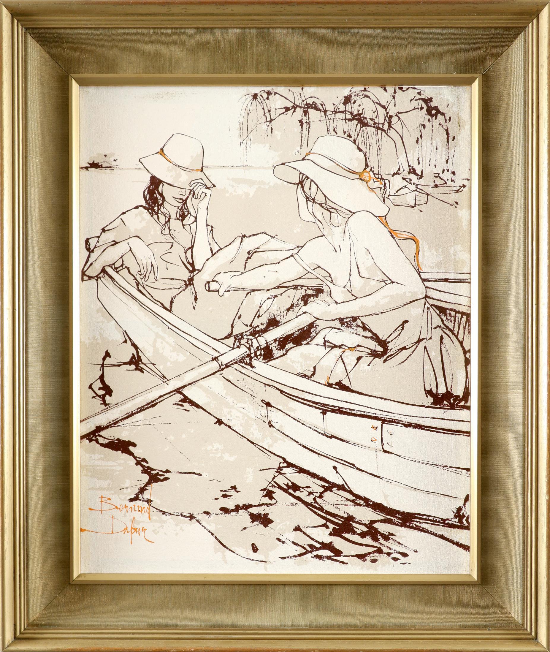 ‡Bernard Dufour (French 1922-2016) Young women boating; Young women in an alleyway Saint Tropez; A - Image 5 of 12