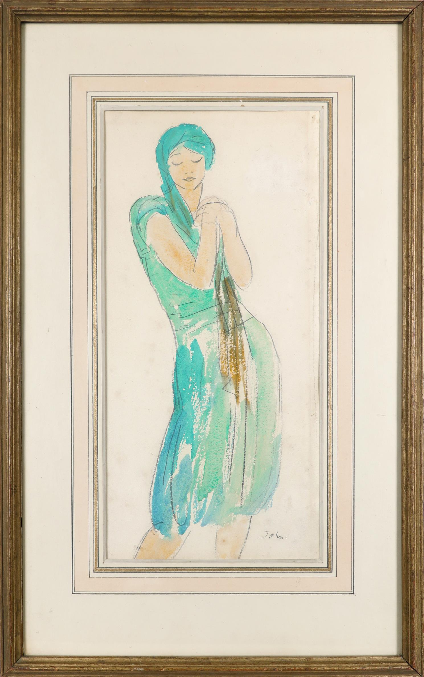 ‡Augustus John OM,RA (1878-1961) Study of a dancing girl Signed John (lower right) Watercolour and - Image 2 of 3