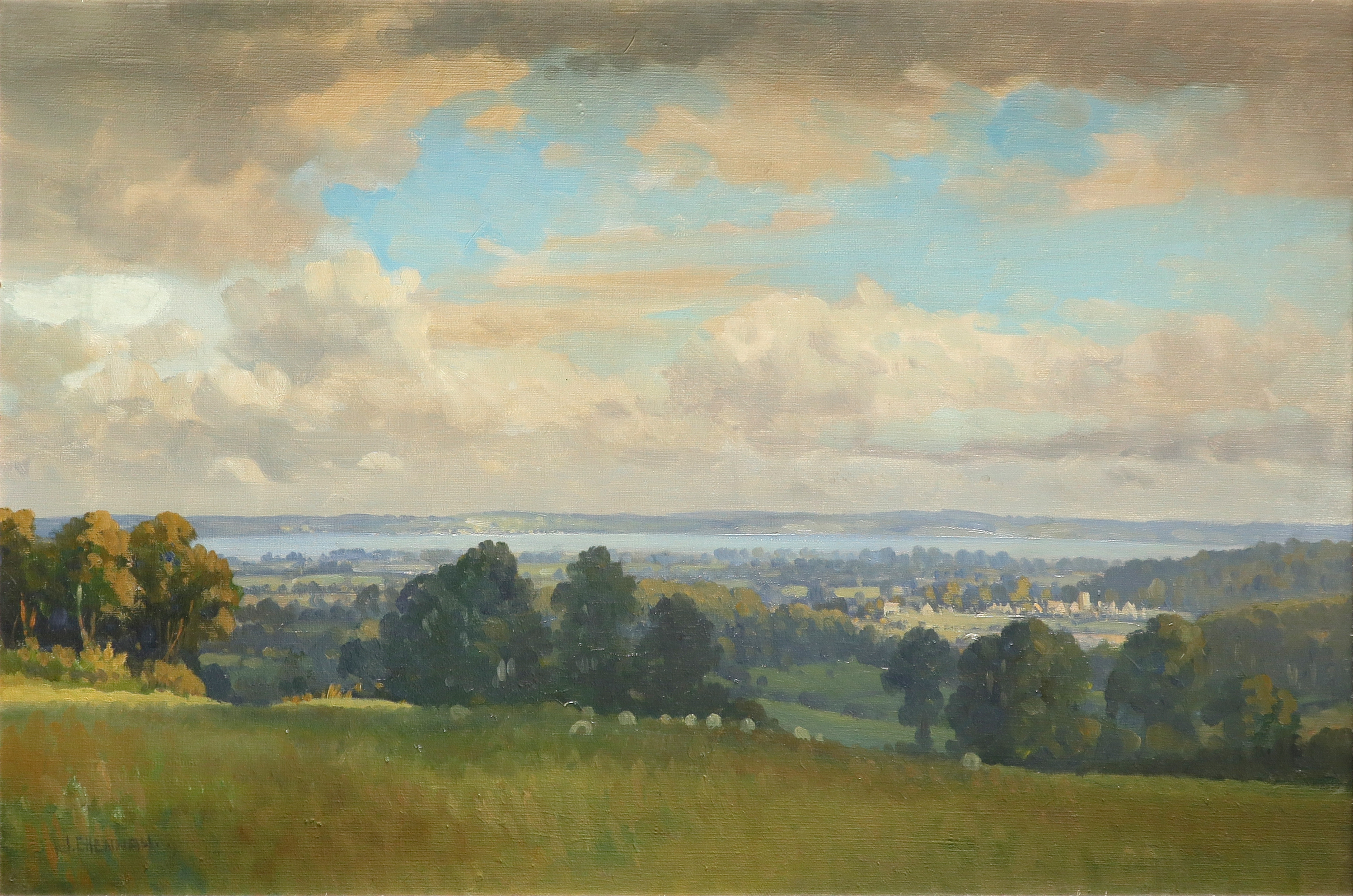 ‡Joseph Edward Hennah (Welsh 1897-1967) Landscape with the River Severn in the distance Signed J.E.