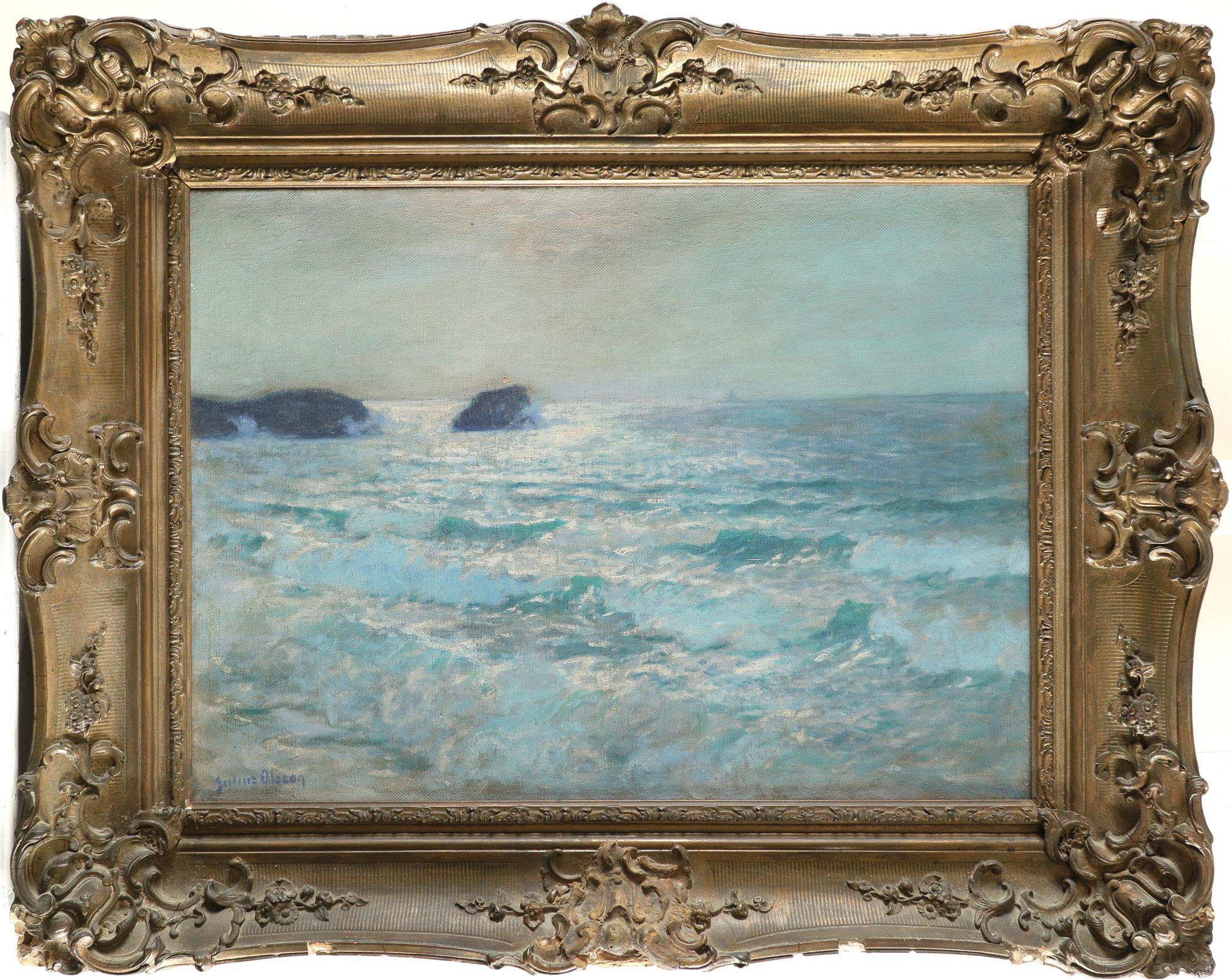 Julius Olsson RA (1864-1942) A calm sea Signed Julius Olsson (lower left) Oil on canvas 45.5 x 61cm - Image 2 of 3