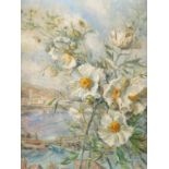 ‡Elise Bye-Rawson (20th Century) Spray of flowers with a harbour beyond Signed and dated E Bye-