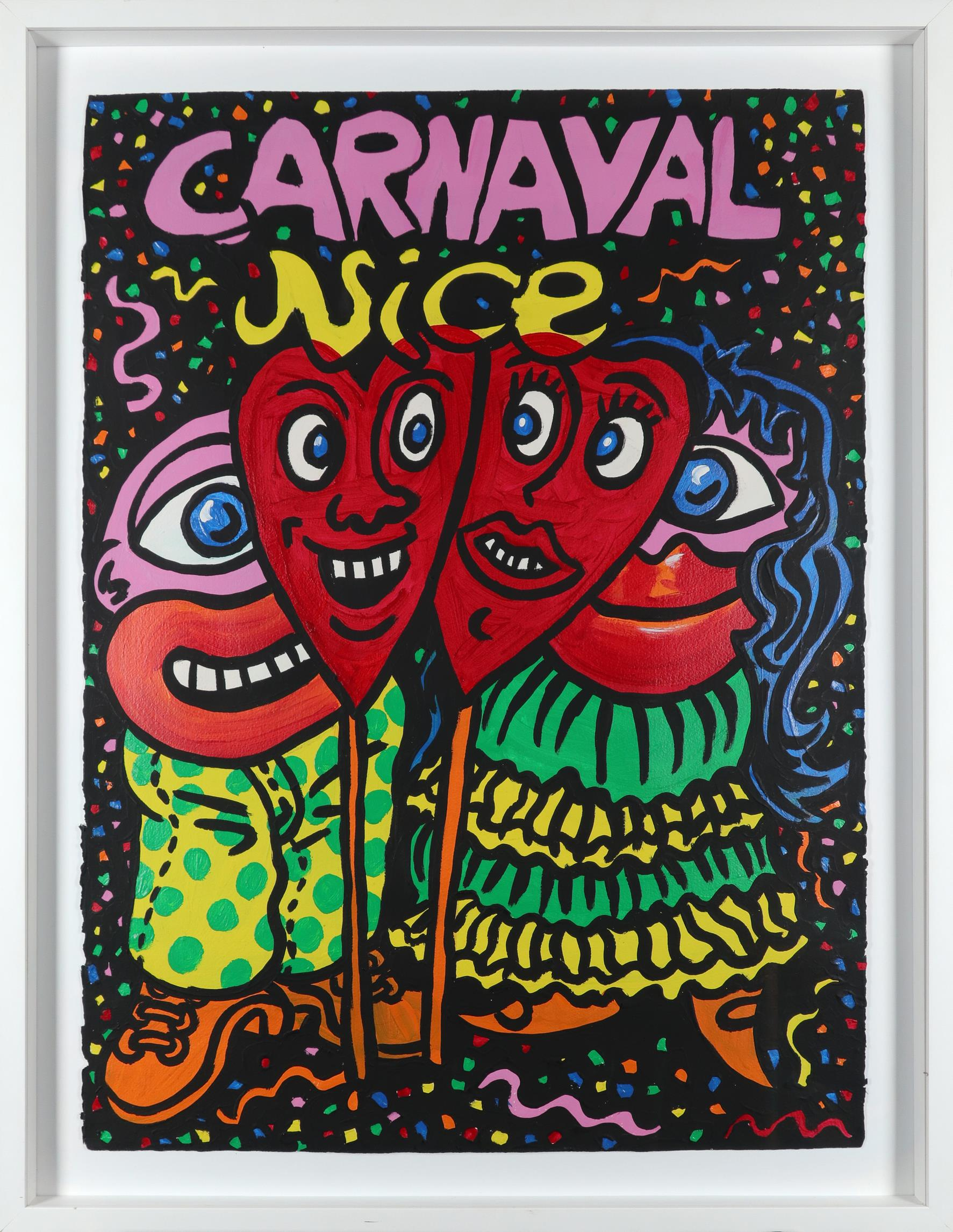 ‡Attributed to Robert Combas (French b.1957) Carnival Acrylic on card 76.5 x 56.3cm - Image 2 of 3