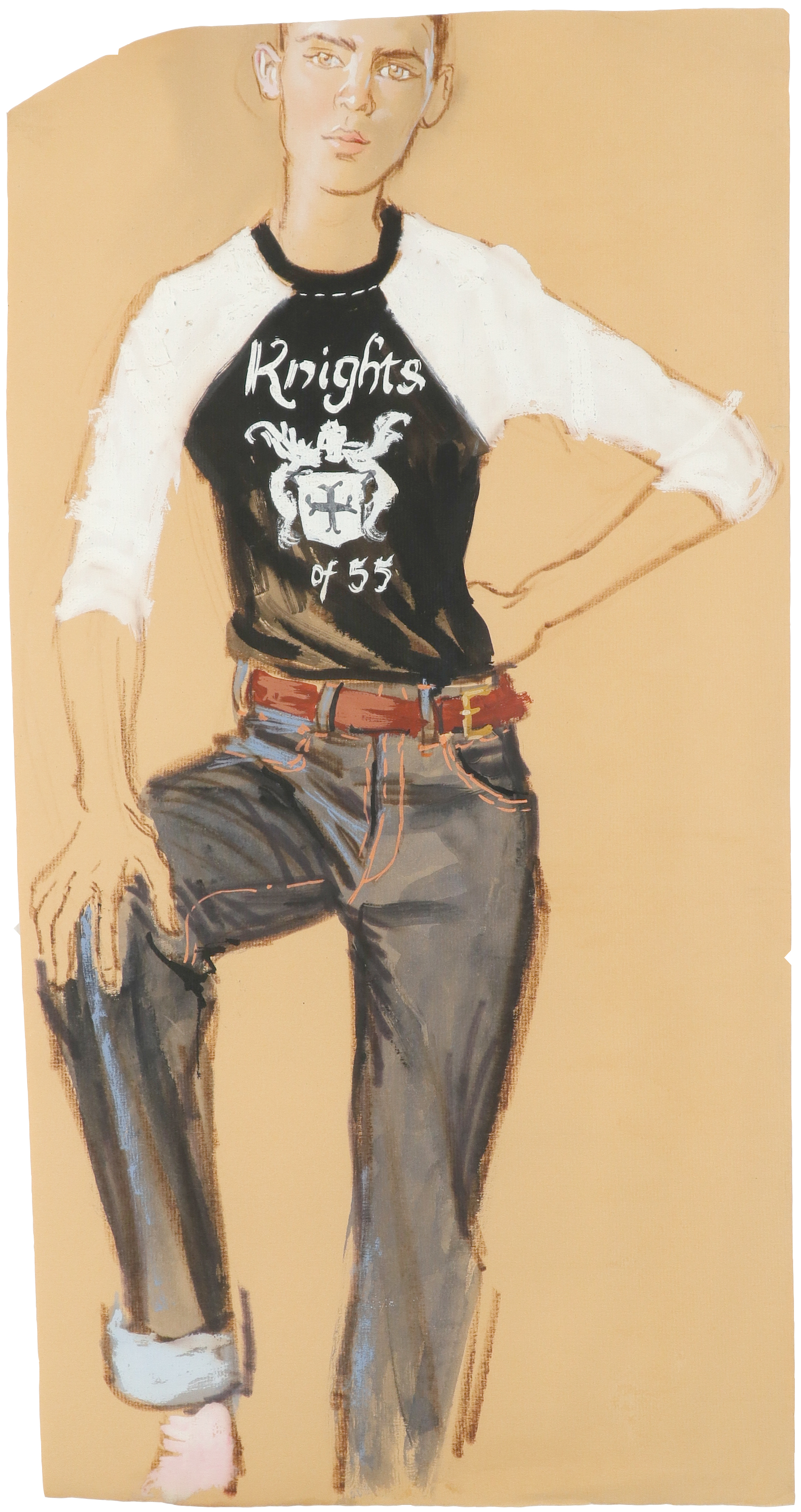 ‡Brian Stonehouse MBE (1918-1998) Knights of 55 Chalk, gouache and watercolour on tan paper 61 x