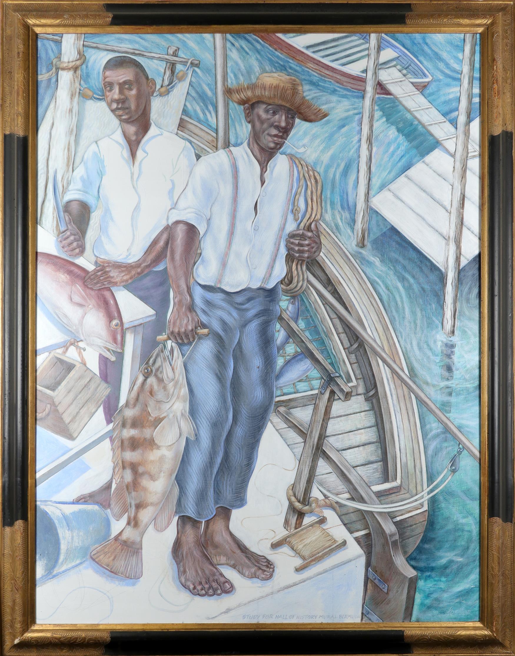 Graham Foster (Bermudan b.1970) Fishermen and Hamlet: Study for the Hall of History Mural, Bermuda - Image 2 of 3
