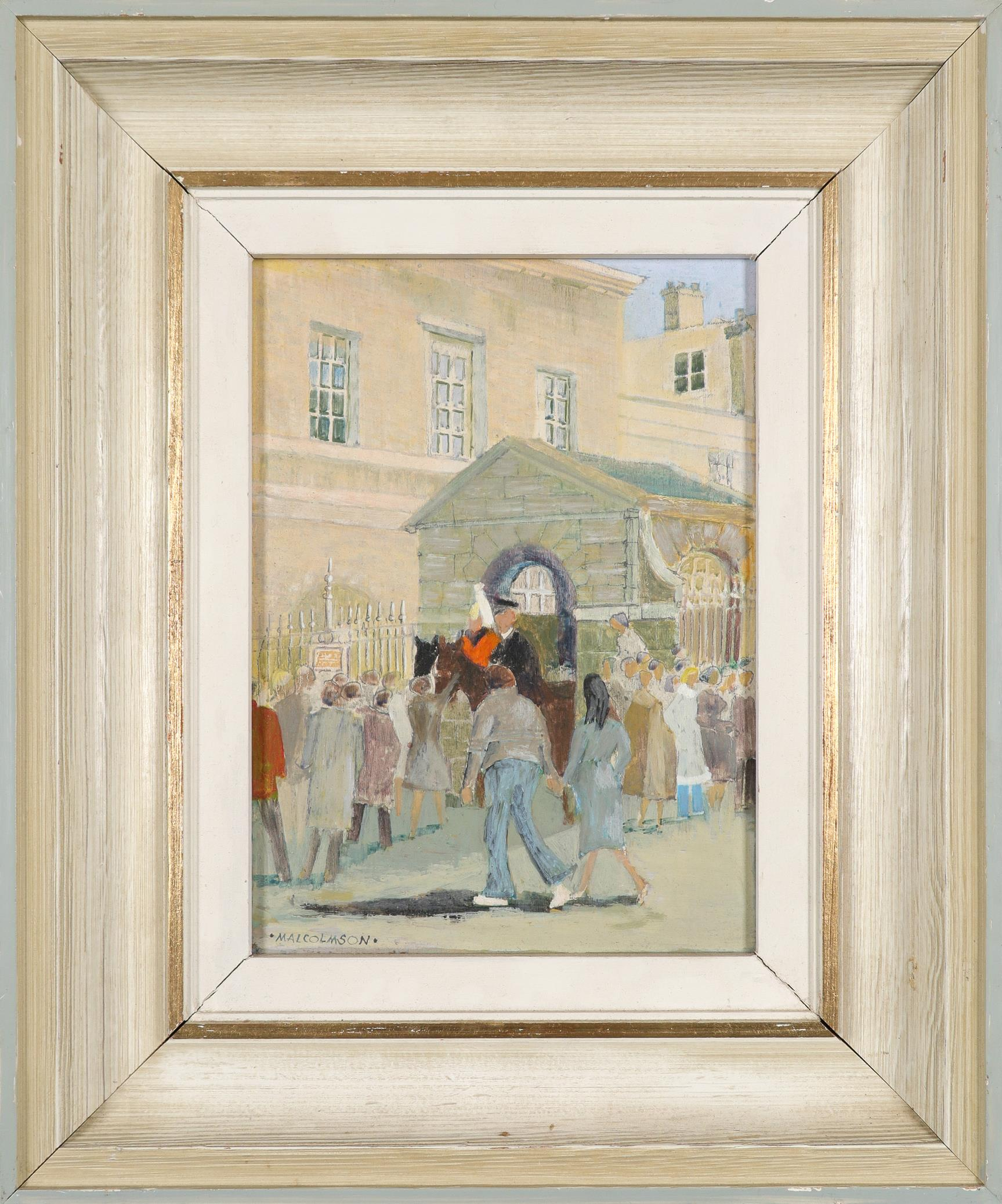 ‡Joe Malcolmson (Contemporary) The changing of the guard Signed MALCOLMSON (lower left) Oil on board - Image 2 of 3