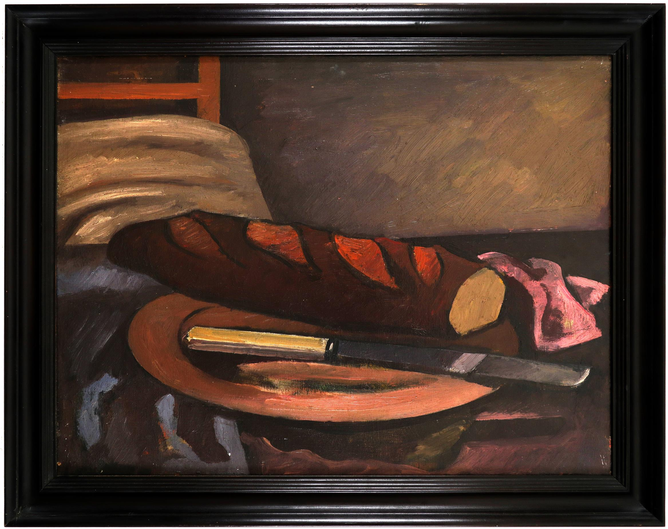 Bernard Meninsky (1891-1950) Still life with a loaf of bread and a knife on a platter - Image 2 of 3