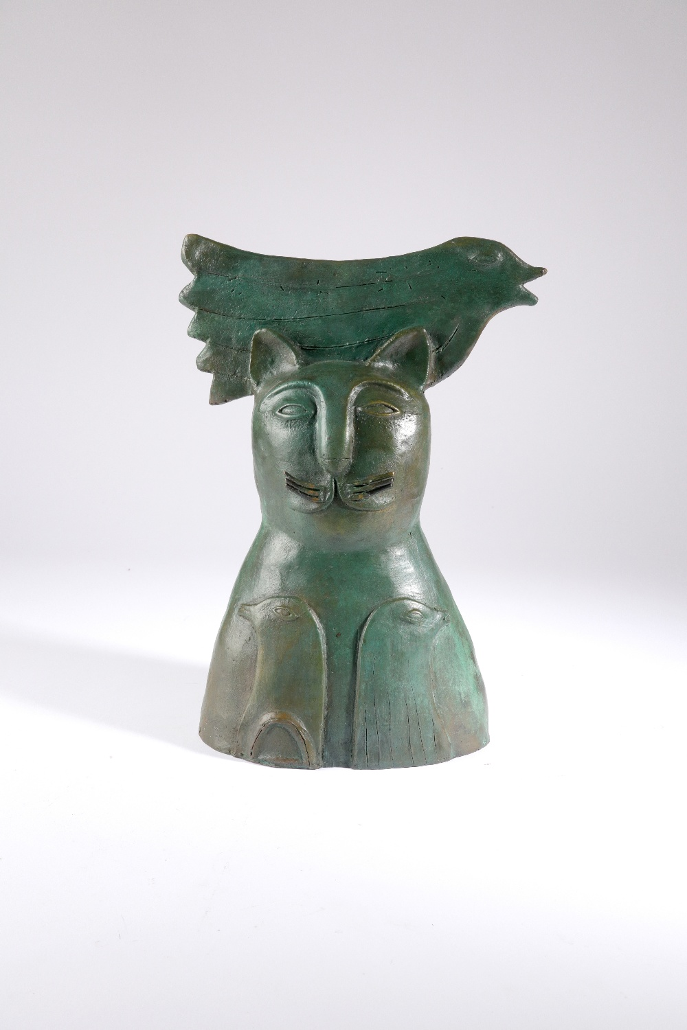 Jesus Tellosa (Mexican 20th Century) Bronze cat and three doves Bronze with green patination 35cm