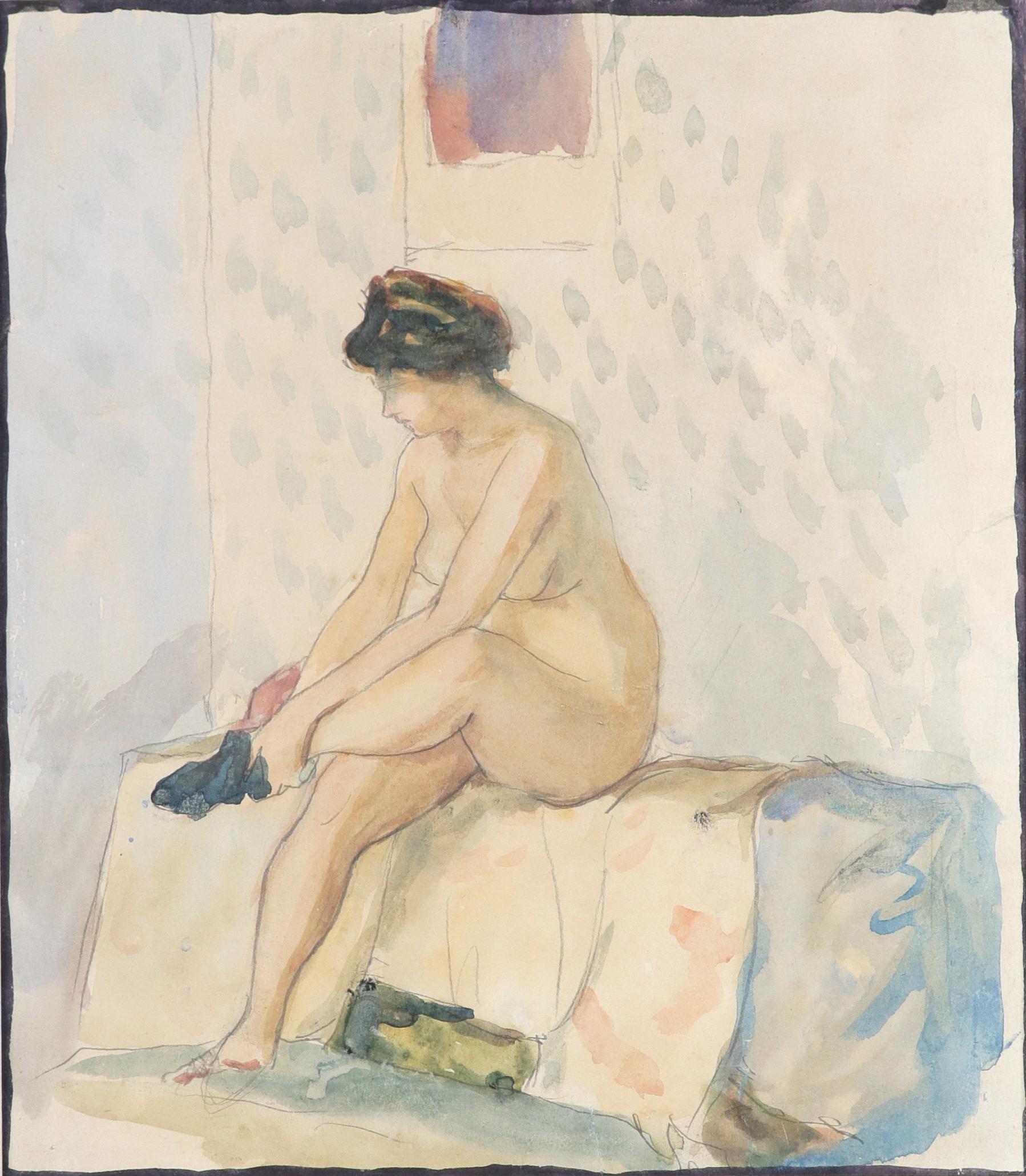 Aleksandr Vasilievich Shevchenko (Ukranian 1883-1948) Female nude putting on a stocking