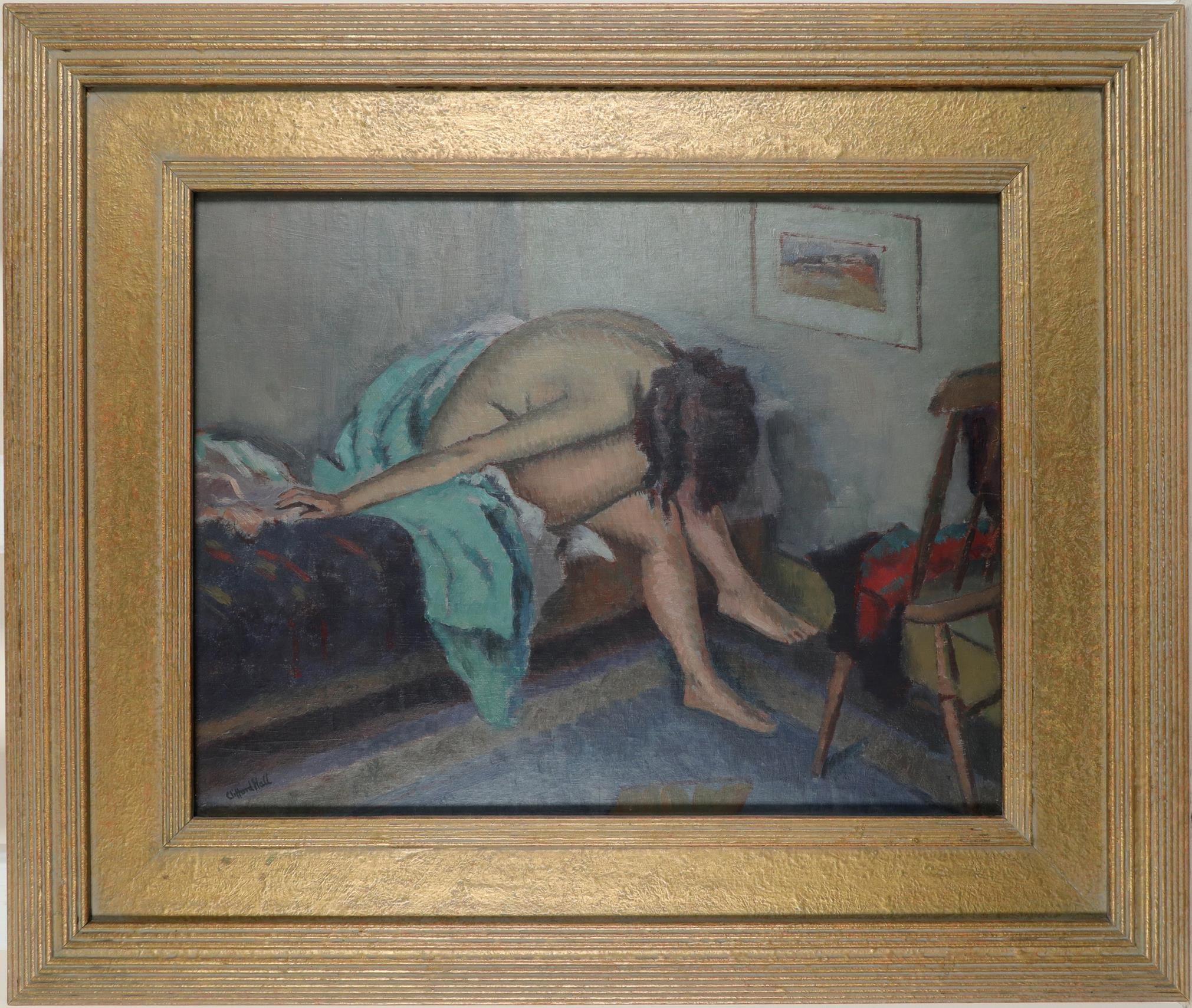 ‡Clifford Hall RBA, ROI (1904-1973) Female nude seated on a bed Signed Clifford Hall (lower left) - Image 2 of 3