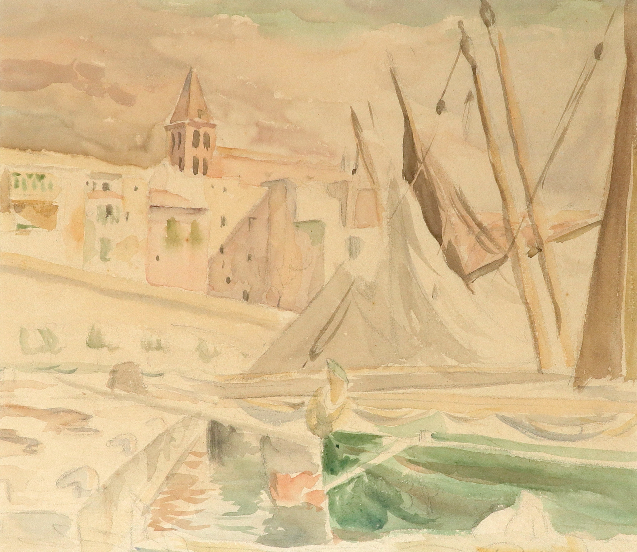 ‡Bernard Adeney (1878-1966) Boats by the quay Watercolour and pencil 22.1 x 25.8cm Together with