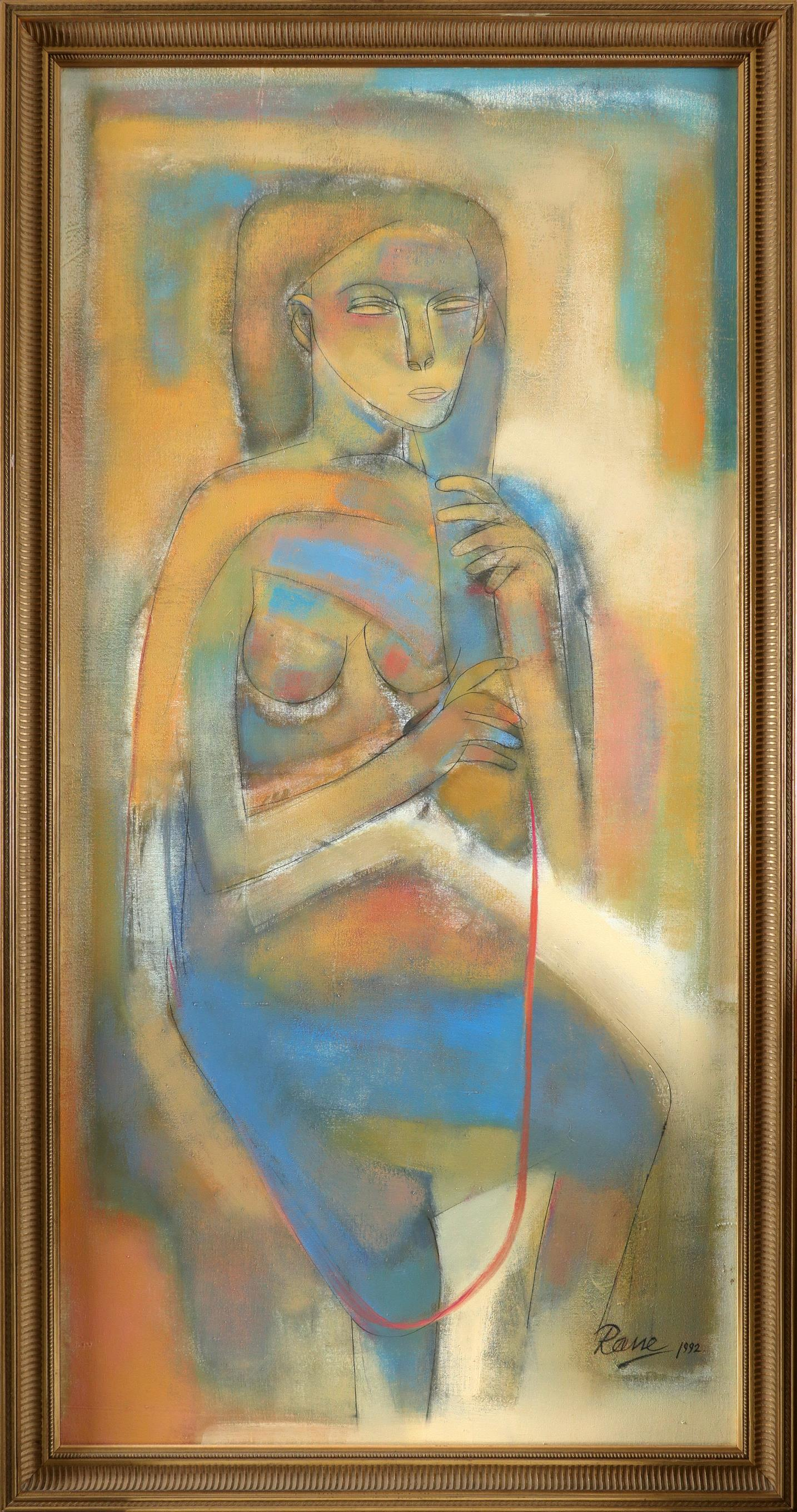 Dattaprasanna Rane (Indian b. 1952) The Man with Cockerel; The Woman A pair, both signed Rane/92 ( - Image 2 of 5
