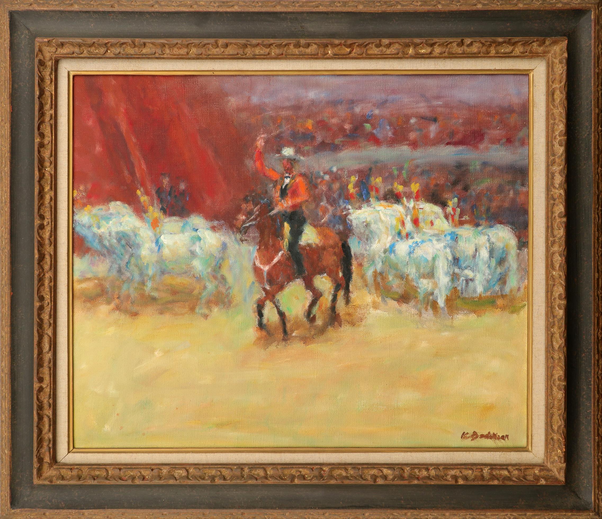 Krikor Bédikian (Turkish 1908-1981) Circus procession Signed K Bedikian (lower right) Oil on - Image 2 of 3