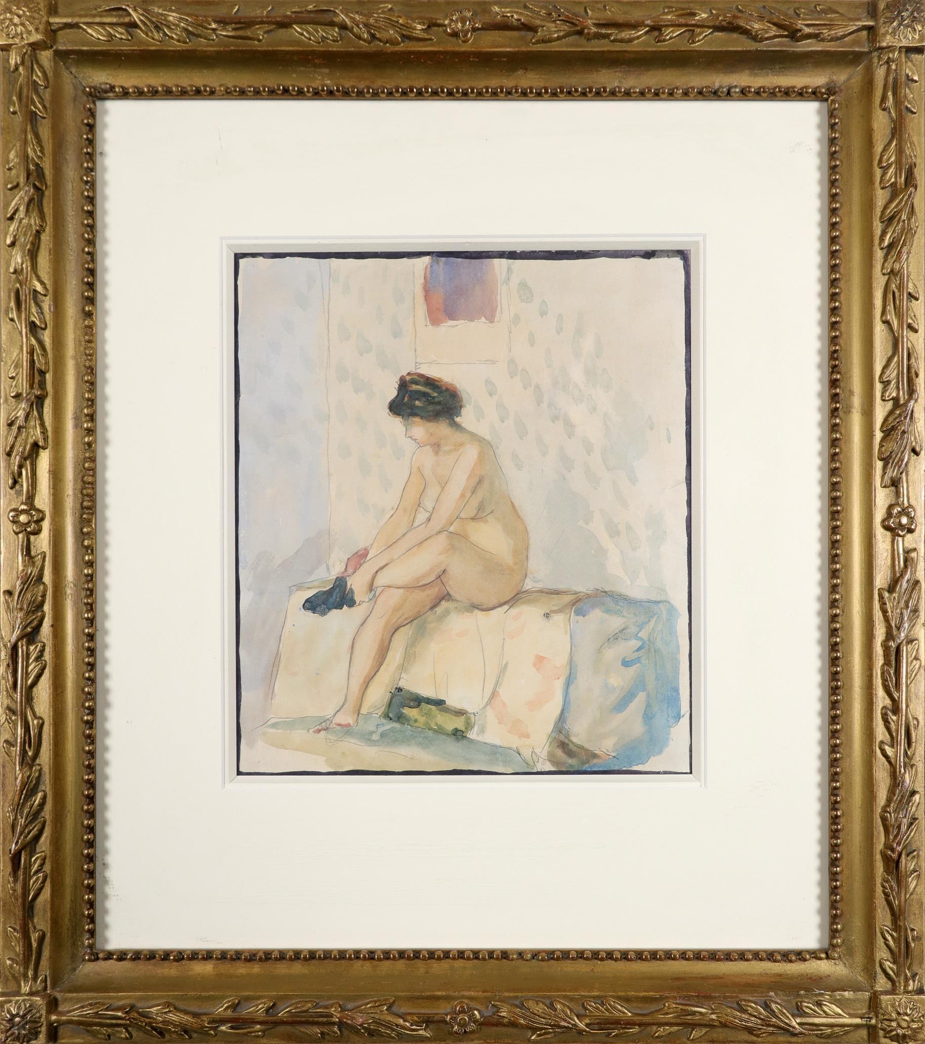 Aleksandr Vasilievich Shevchenko (Ukranian 1883-1948) Female nude putting on a stocking - Image 2 of 3