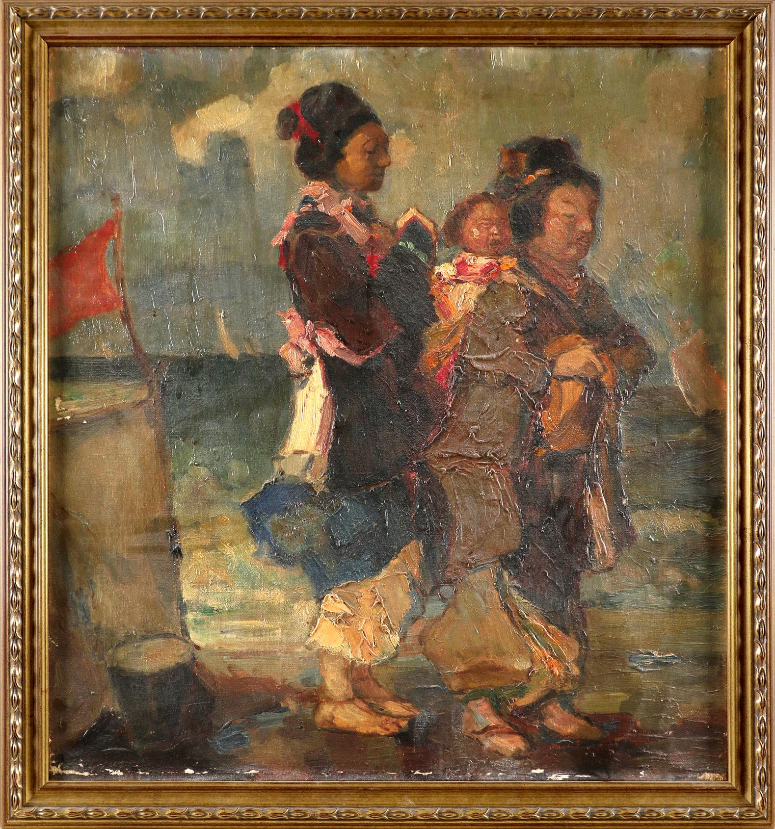 Continental School 20th Century Two women and a child on a beach Oil on canvas 52.8 x 48cm - Image 2 of 3