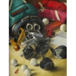 Vestey Rich (20th Century) The golf bag Signed -Vestey Rich (lower right) Oil on board 49.2 x 39.
