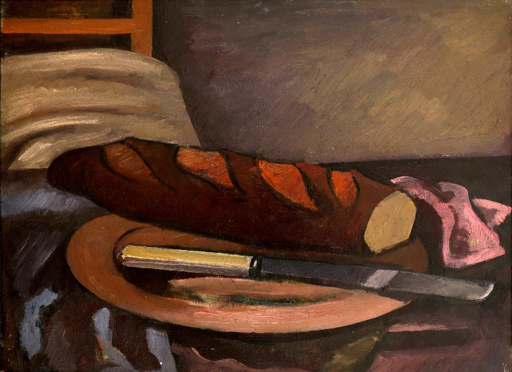 Bernard Meninsky (1891-1950) Still life with a loaf of bread and a knife on a platter