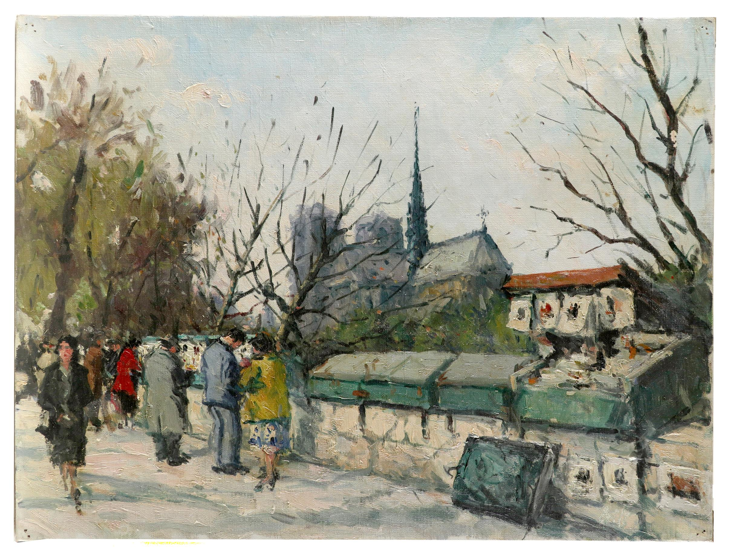 French School 20th Century Bouquinistes by the Seine, Paris, Notre Dame beyond Oil on canvas 46.1