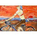 ‡Peter McLaren (Scottish b.1964) Cyclist Oil on card 47.8 x 64.1cm