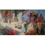Continental School Early 20th Century An Indian ceremonial scene Oil on canvas 50 x 81.5cm