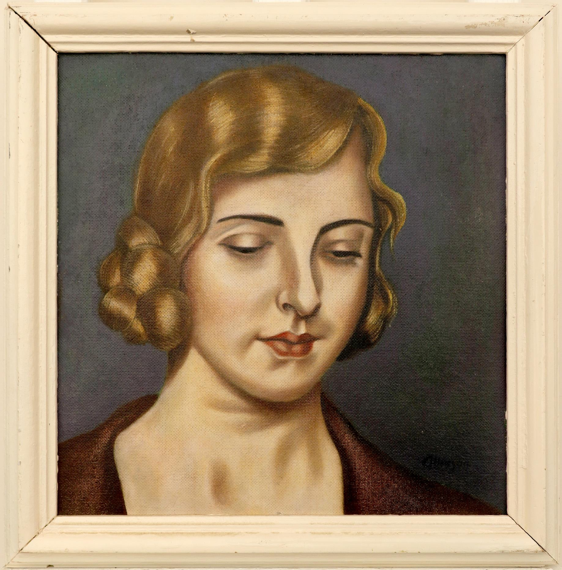 ‡Adrian Allinson ROI (1890-1959) Portrait of a young lady, possibly Laura Knight Signed allinson - Image 2 of 3