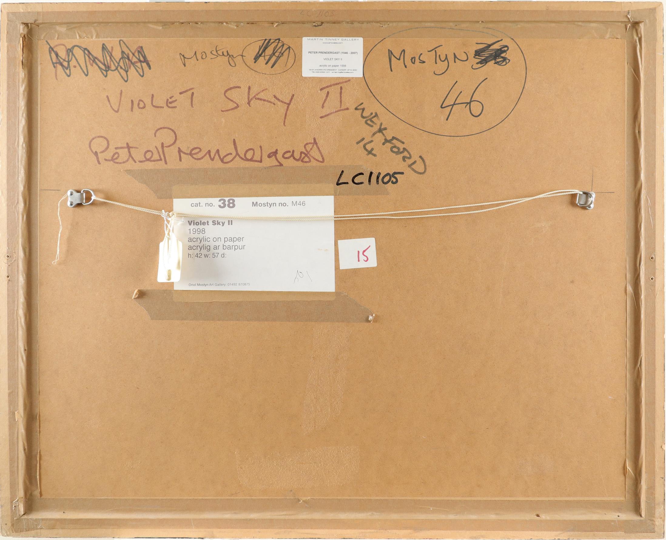 ‡Peter Prendergast (Welsh 1946-2007) Violet Sky II Signed Peter Prendergast (lower right), and - Image 3 of 3