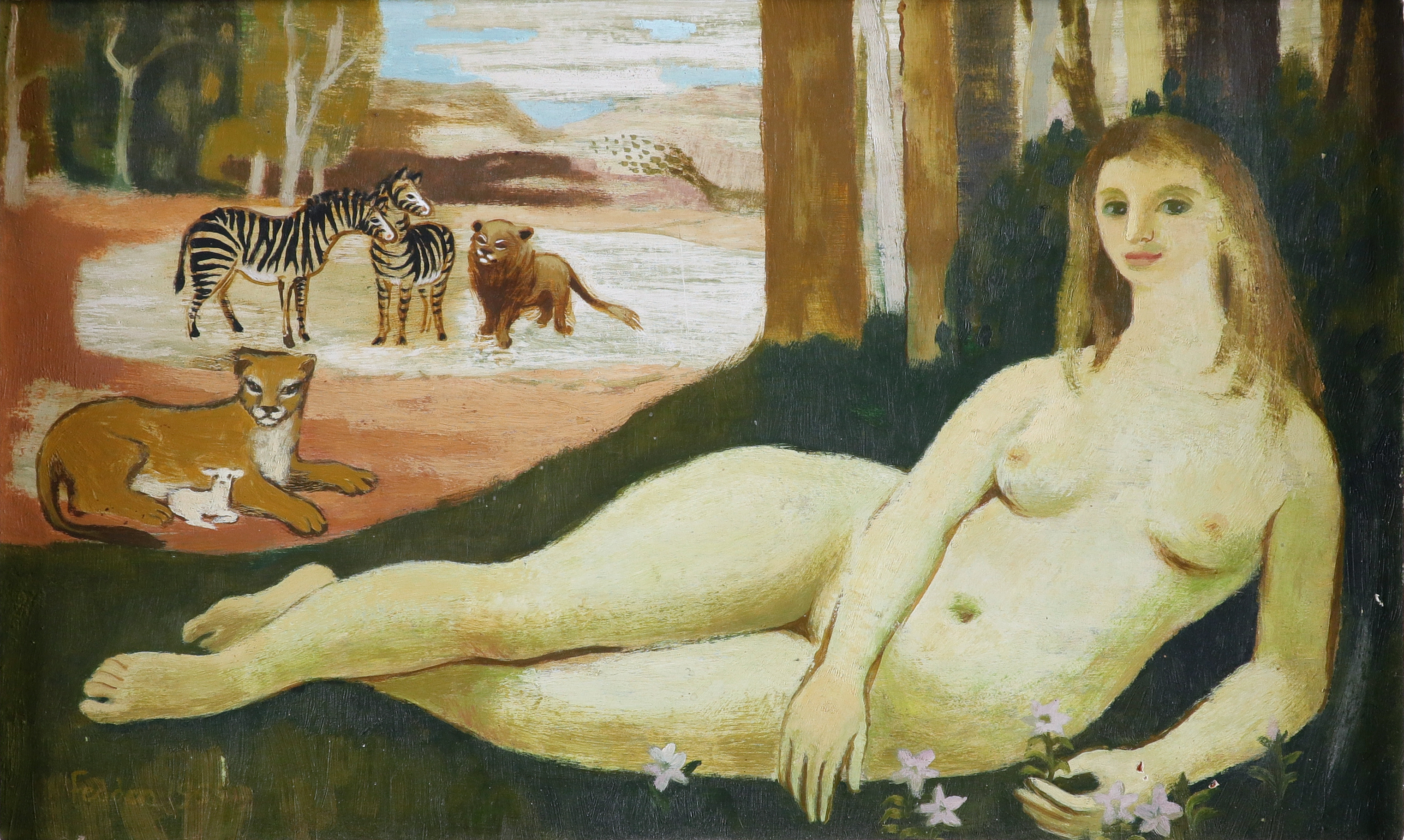 ‡Mary Fedden OBE, RA, RWA, (1915-2012) Landscape with a reclining female nude, lions and zebras