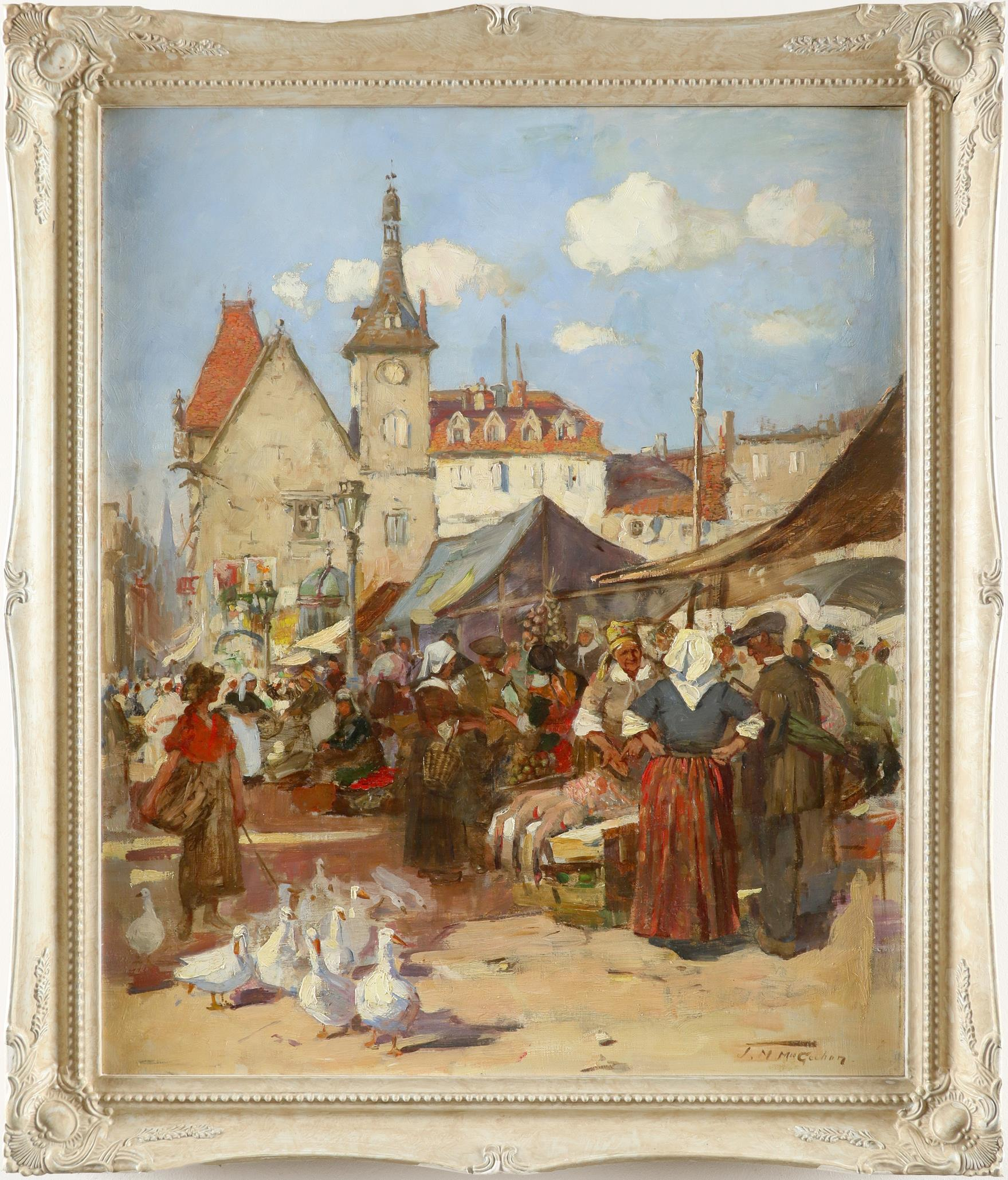 Jessie M. McGeehan (Scottish 1872-1950) Market day Signed J.M.McGeehan (lower right) Oil on canvas - Image 2 of 3
