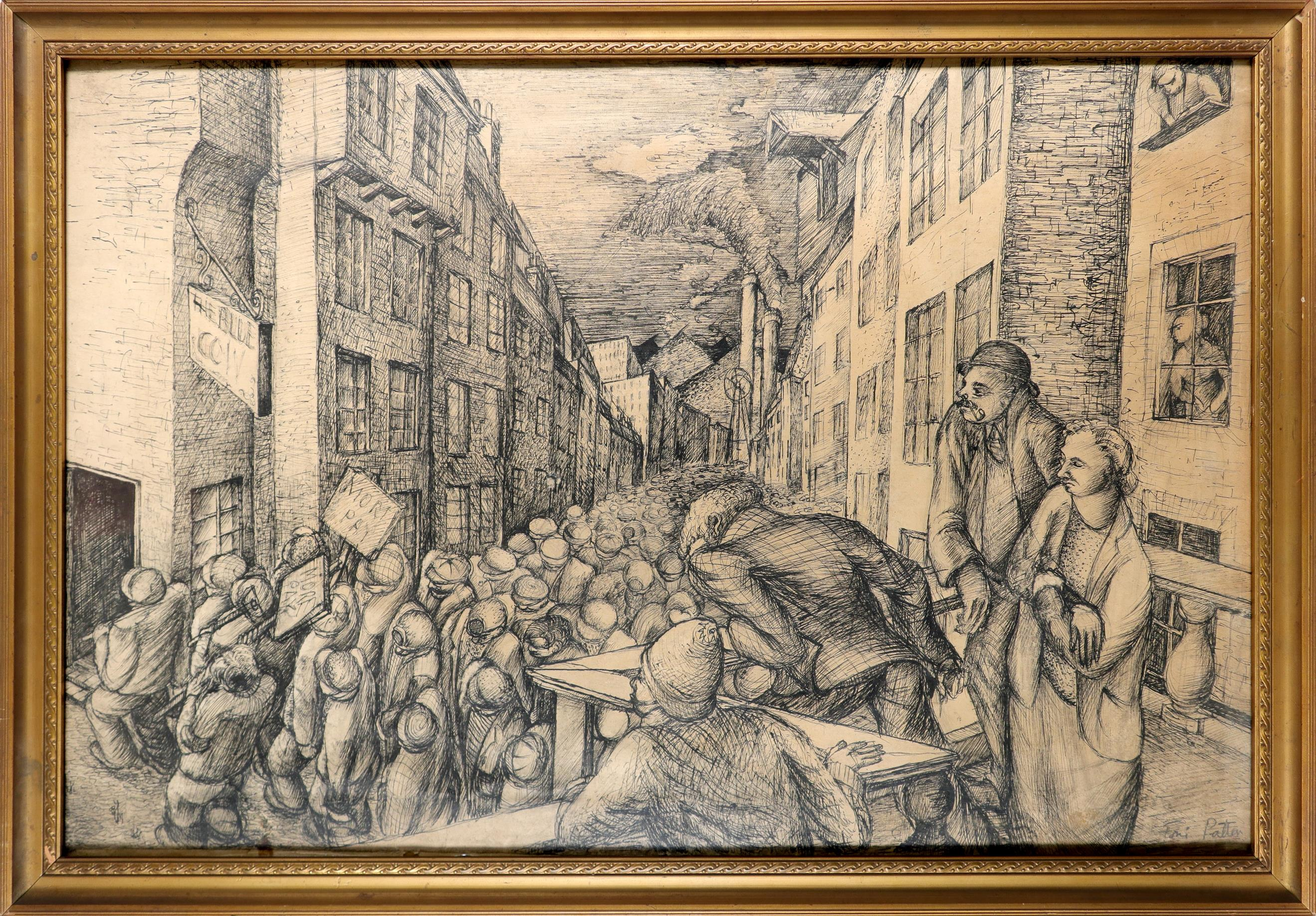 ‡Toni Patten (20th Century) Striking workers Signed Toni Patten (lower right) Pen 34.4 x 54.7cm - Image 2 of 3