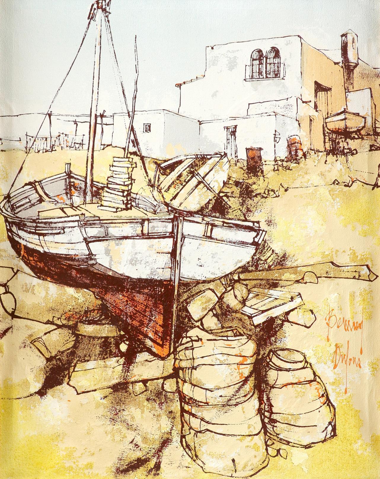 ‡Bernard Dufour (French 1922-2016) Young women boating; Young women in an alleyway Saint Tropez; A - Image 4 of 12