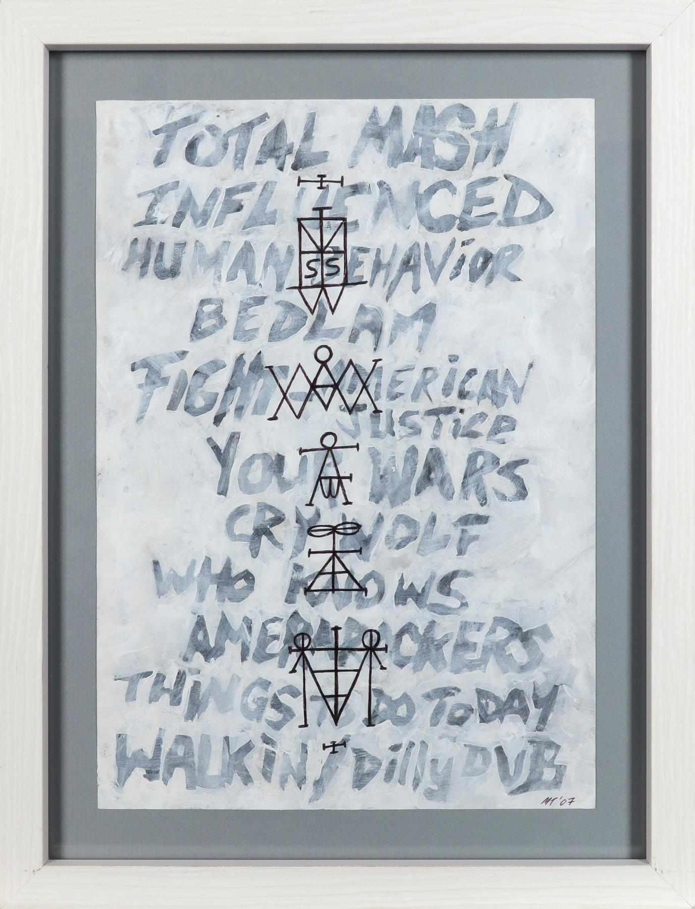 ‡Mark Titchner (b.1973) Scream Set List and Sigils Signed with initials and dated MT'07 (lower - Image 2 of 3