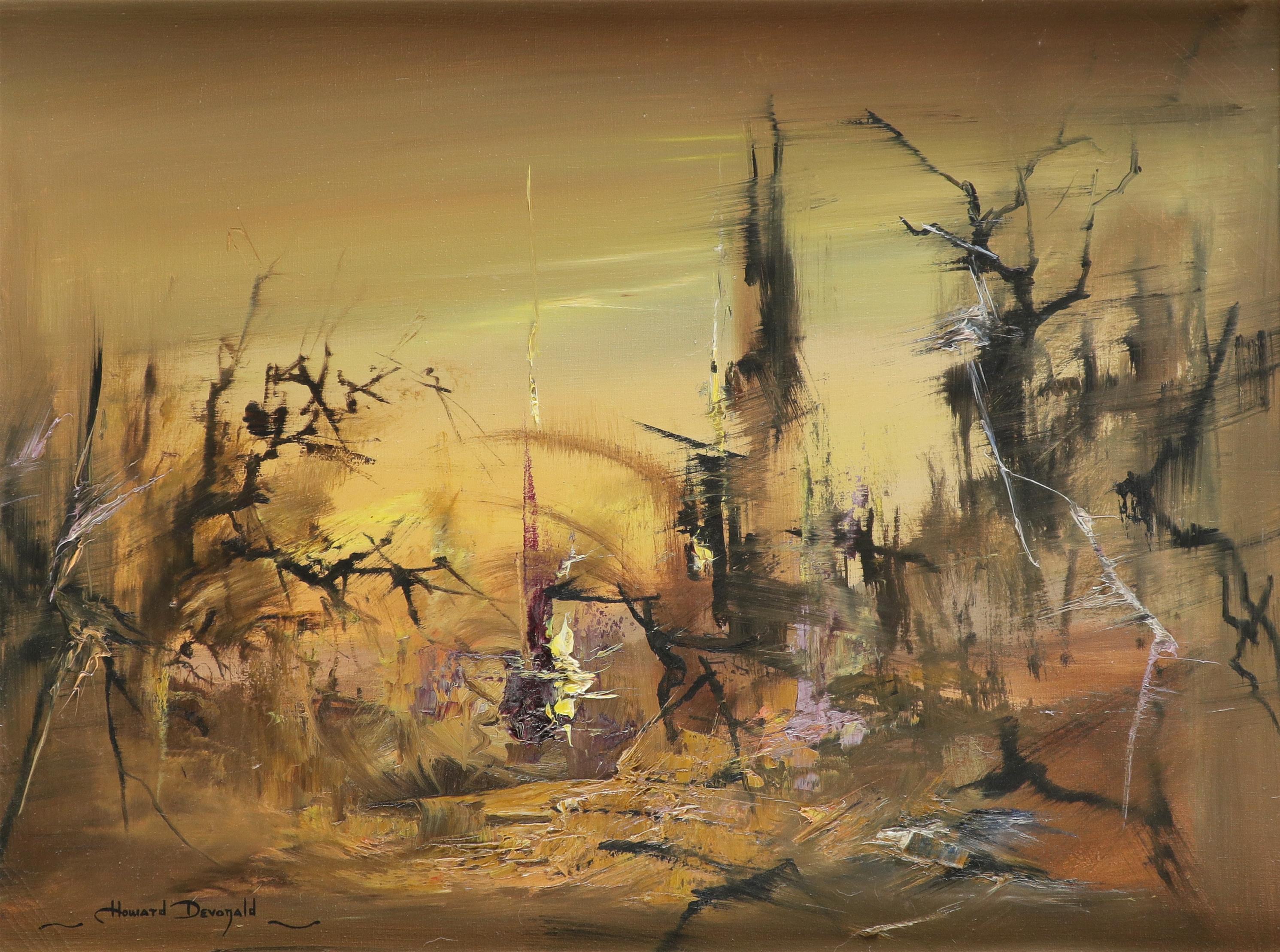 ‡Howard Devonald (20th Century) Landscape at dawn Signed Howard Devonald (lower left) Oil on