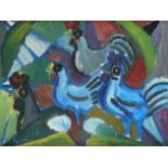 ‡Eyvind Olesen (Danish 1907-1995) Chickens Signed and dated Ey Olesen/69 (lower left) and