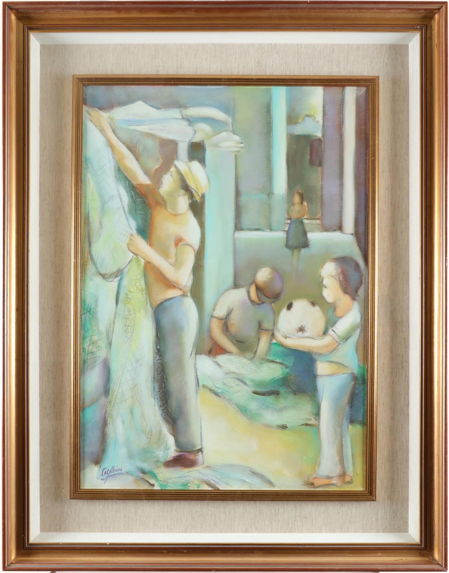 ‡Giuseppe Casalloni (Italian b. 1944) Fishermen and boy Signed CASALLONI (lower left) Oil on - Image 2 of 3