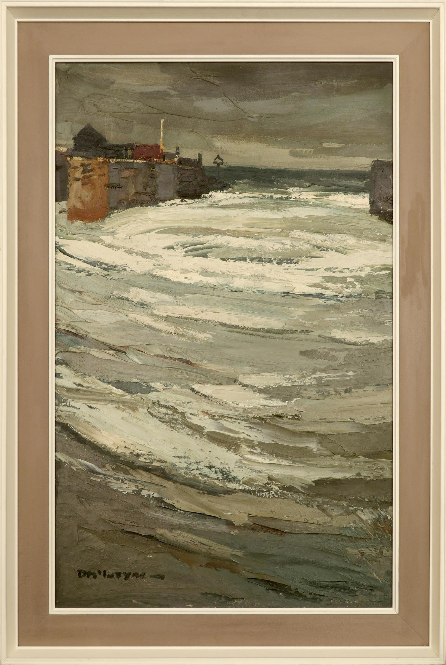 ‡Donald McIntyre RCA (1923-2009) Aberayron harbour Signed DM'INTYRE- (lower left) Oil on board 100.4 - Image 2 of 3