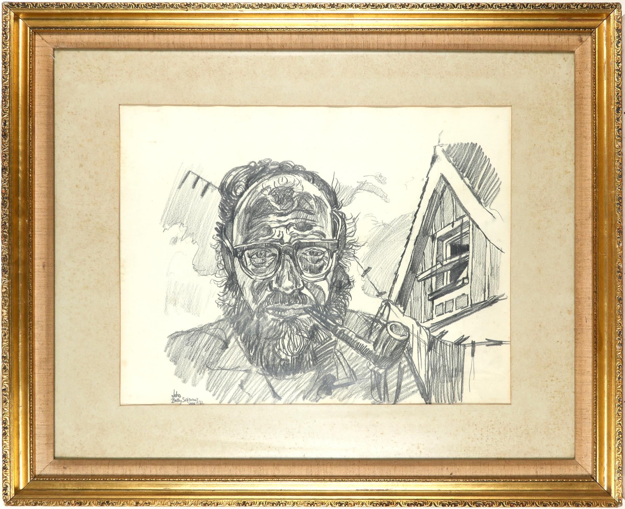 ‡John Bratby RA (1928-1992) Self portrait whilst smoking a pipe Signed, dated and inscribed John/ - Image 2 of 3