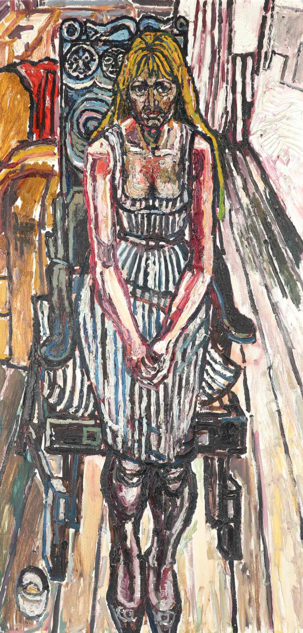 ‡John Bratby RA (1928-1992) Girl in a carved chair Signed BRATBY (lower left) Oil on board, c.