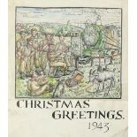 ‡Stanley Cornwell Lewis (1905-2009) Christmas Greetings 1943 Signed Stanley/Lewis (lower centre)