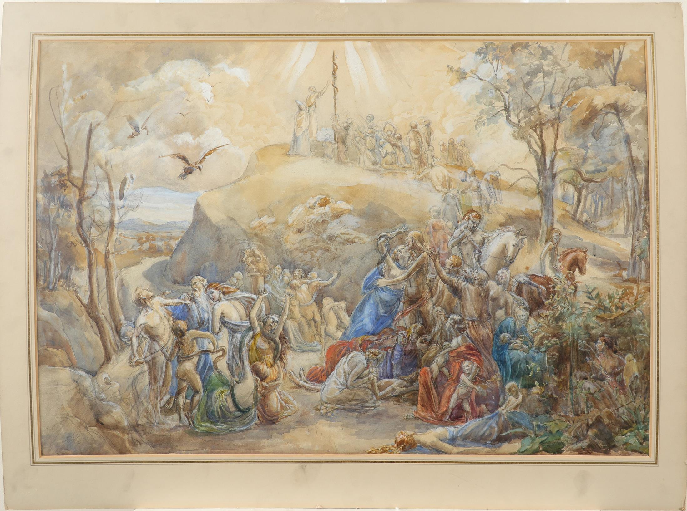 Circle of Augustus John Moses and the Brazen Serpent Bears signature John (lower left) Watercolour - Image 2 of 4