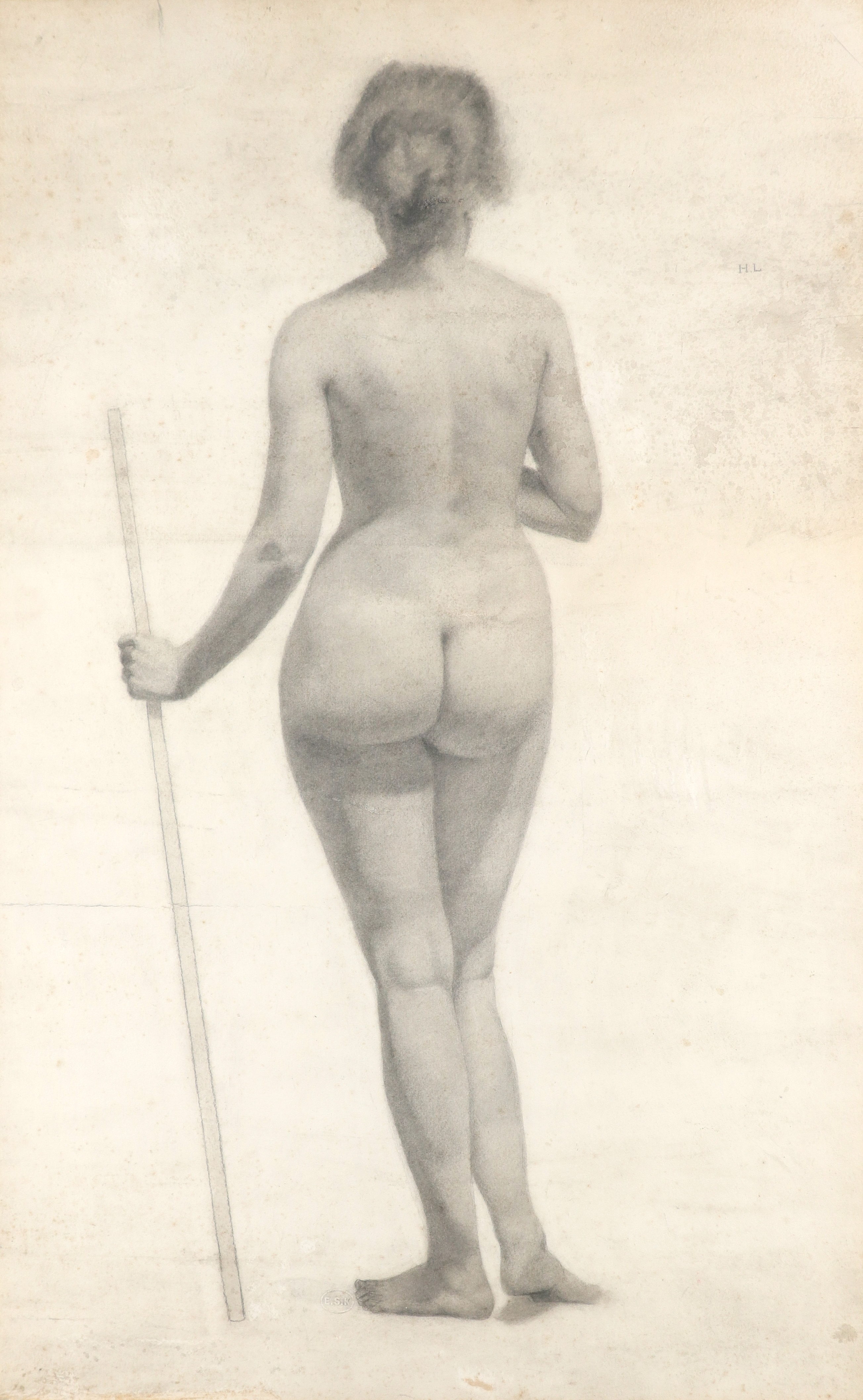 Lillian May Bevis Rowles (act. 1914-1918) Standing nude from the rear Inscribed H.L. (upper right)