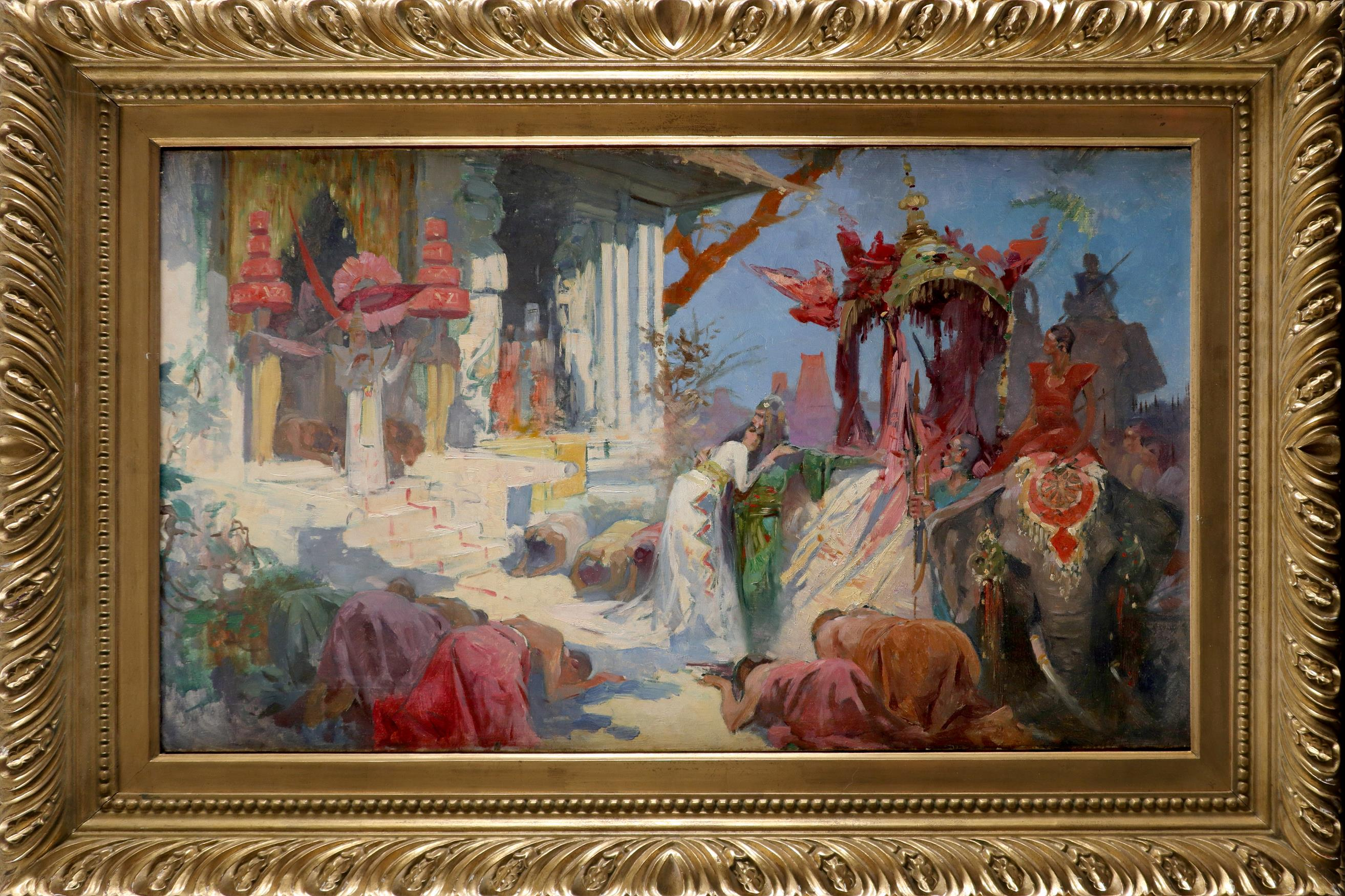 Continental School Early 20th Century An Indian ceremonial scene Oil on canvas 50 x 81.5cm - Image 2 of 3