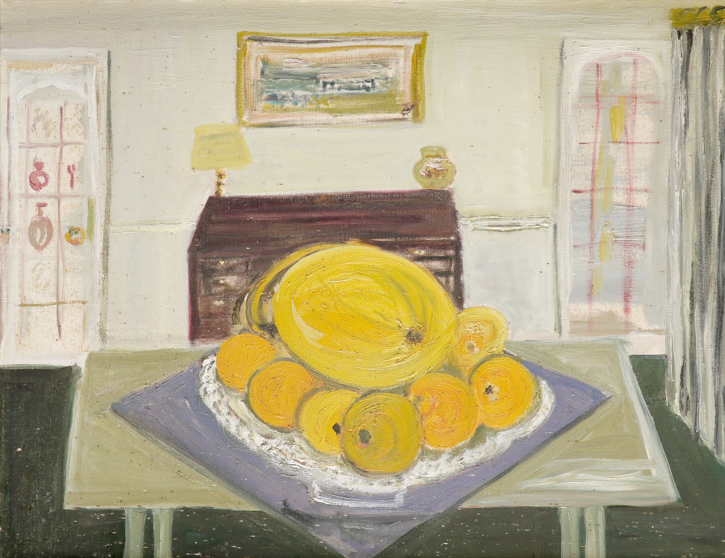 ‡Muriel Pemberton RWS (1909-1993) Still life with fruit on a kitchen table Oil on canvas 39 x 49.4cm