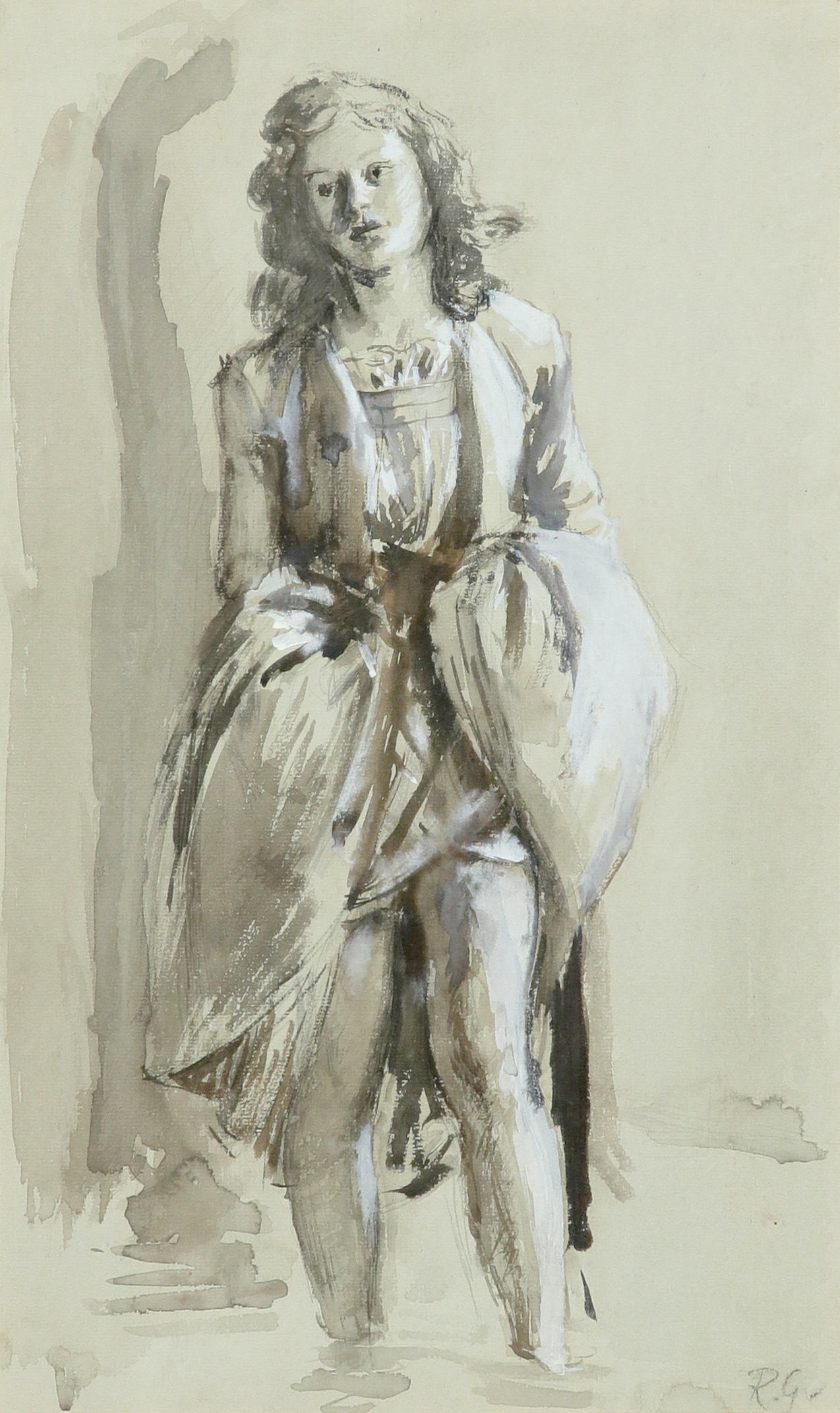 ‡Robin Guthrie (1902-1971) Study of a girl paddling Signed with initials R.G (lower right)