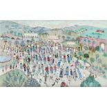 ‡Fred Yates (1922-2008) The garden fete Signed FRED YATES (lower right) Oil on canvas 51 x 76cm