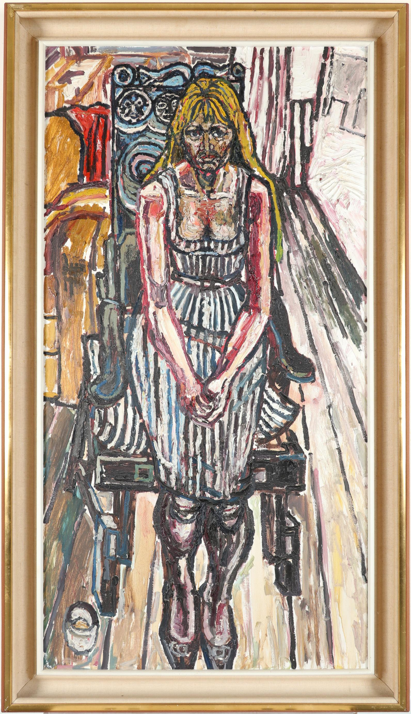 ‡John Bratby RA (1928-1992) Girl in a carved chair Signed BRATBY (lower left) Oil on board, c. - Image 2 of 3