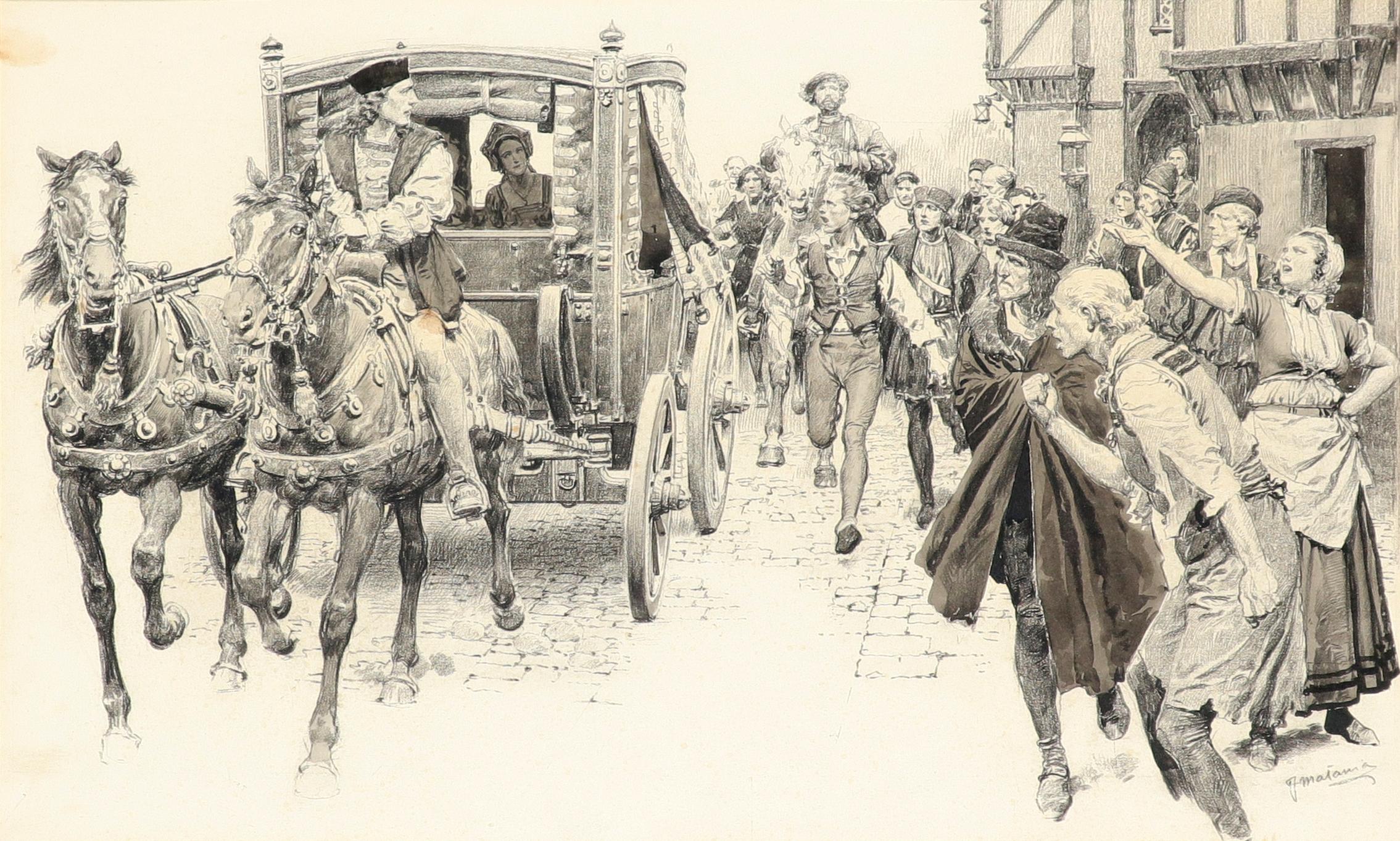 ‡Fortunio Matania RI (Italian 1881-1963) Anne Boyleyn being driven through the crowd Signed FMatania