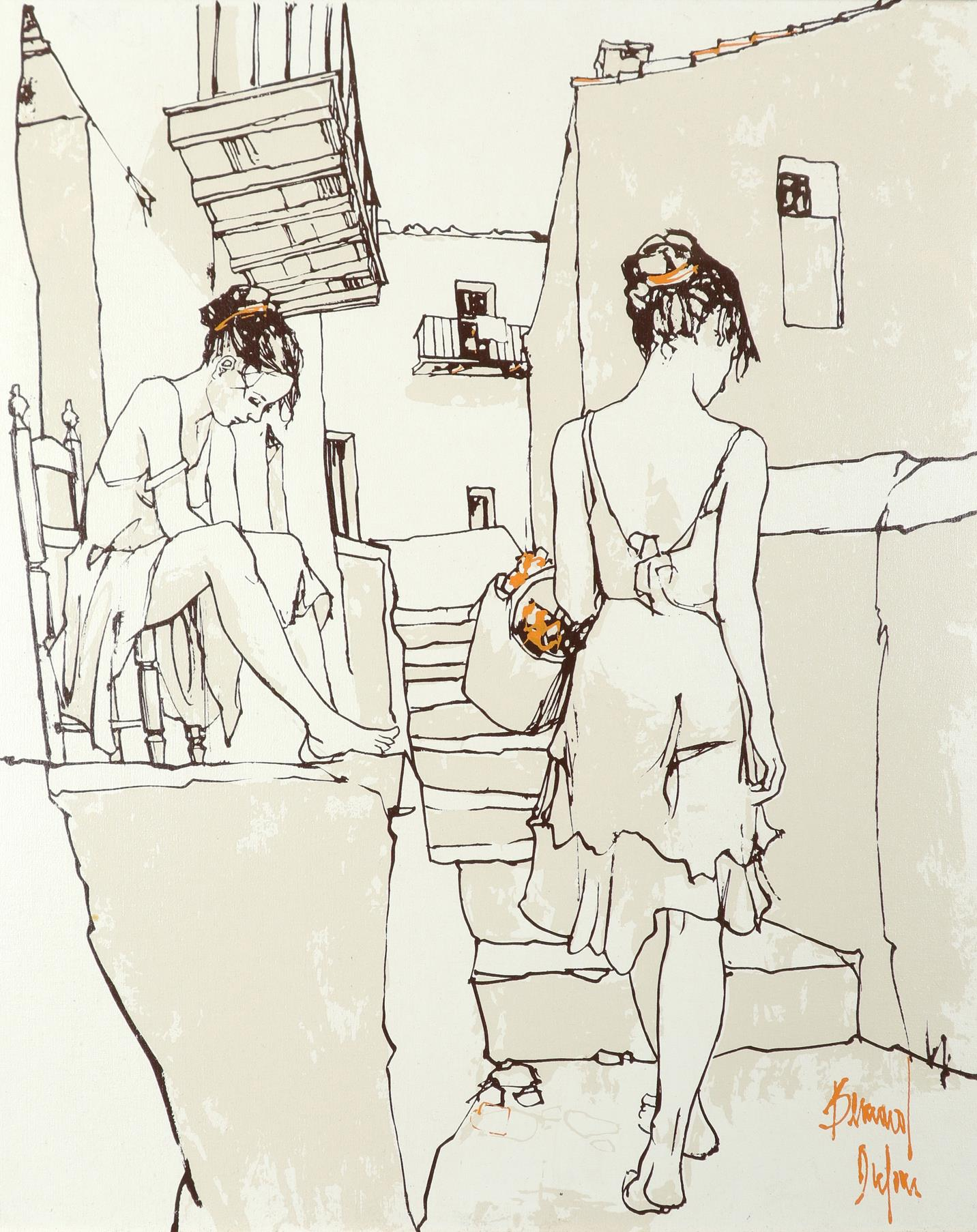 ‡Bernard Dufour (French 1922-2016) Young women boating; Young women in an alleyway Saint Tropez; A - Image 2 of 12